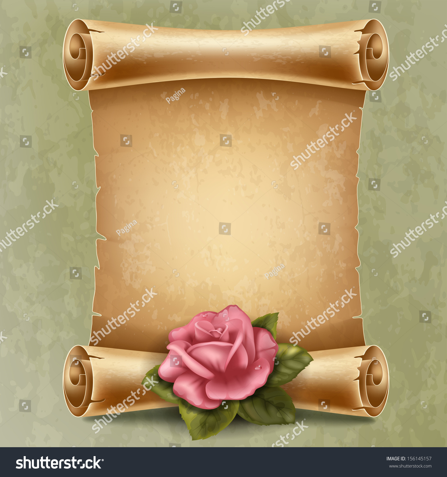 Vertical Old Scroll Paper Beautiful Rose Stock Vector ...
