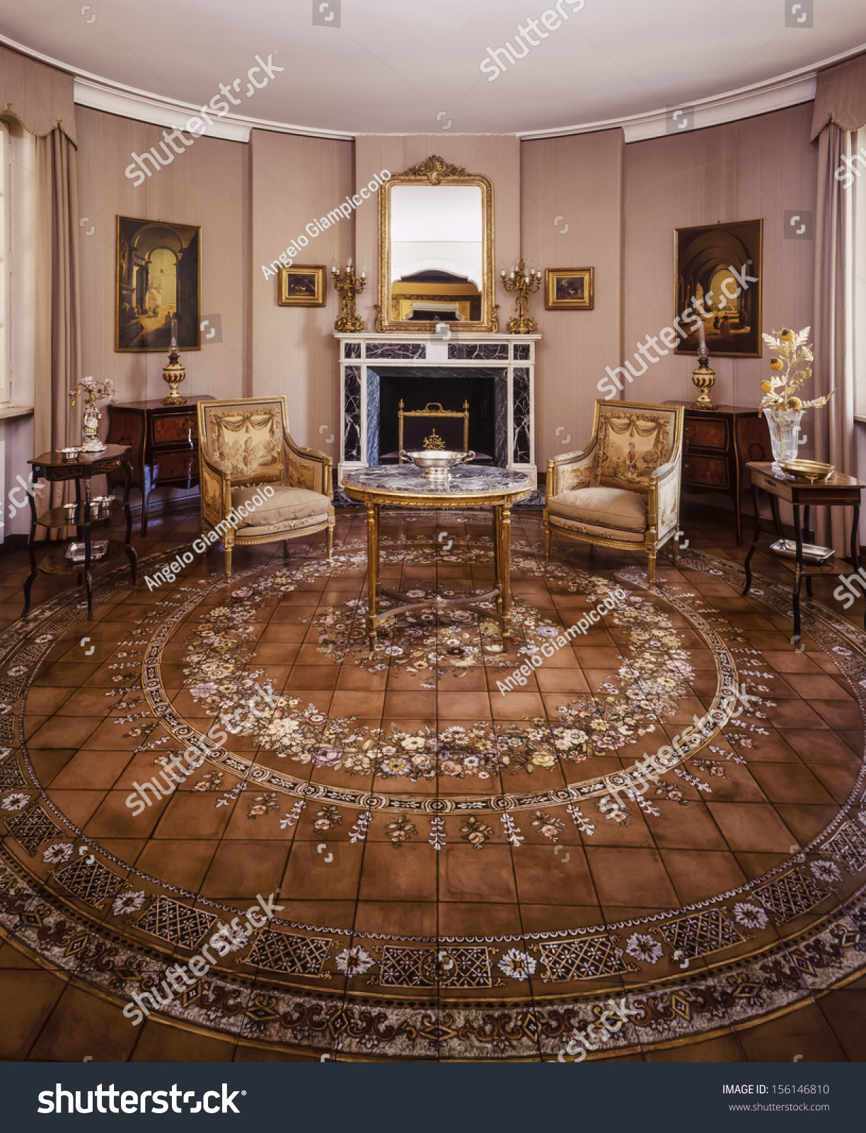 Terracotta Living Room Italy Rome Old Luxury Private House Stock Photo 156146810