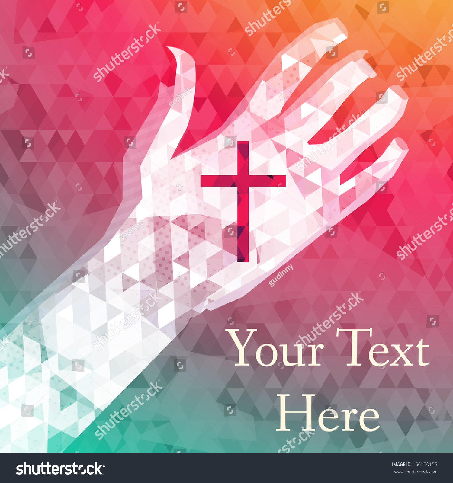 Abstract Background Left Hand Christian Cross Stock Vector
