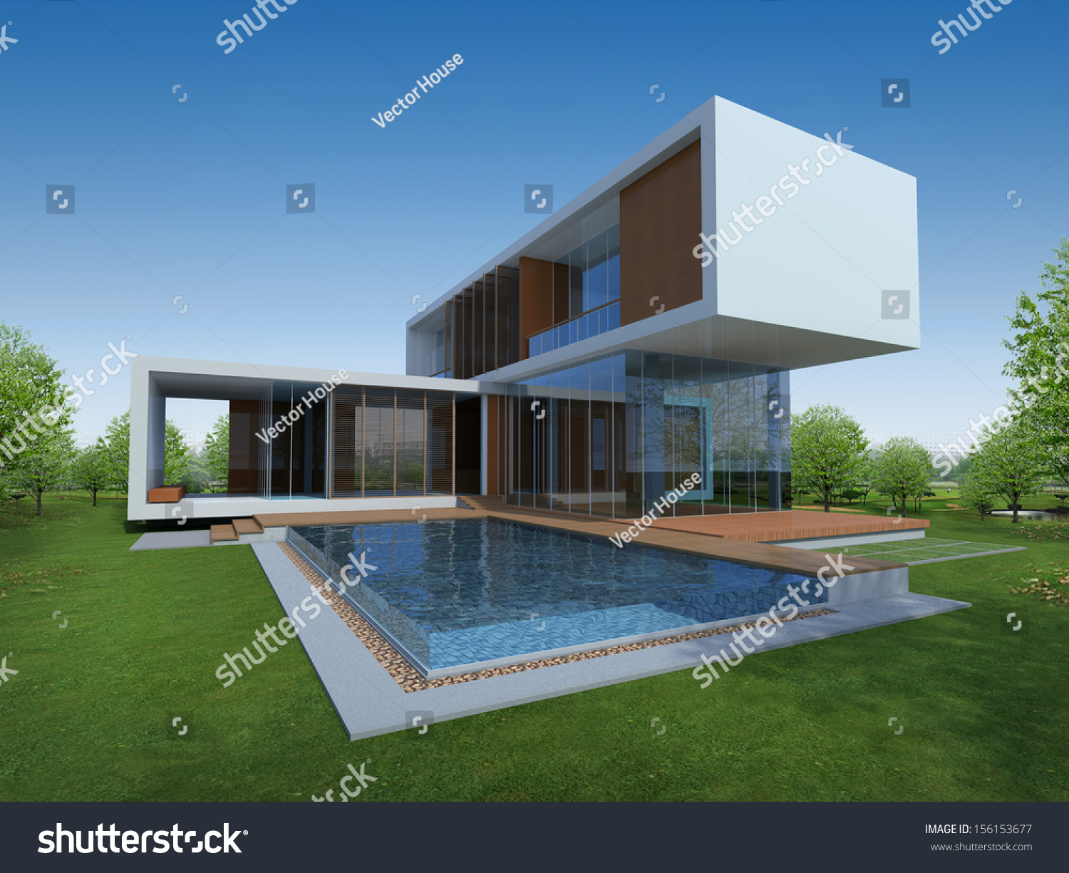 3D render of tropical modern house with green area & 3 D Render Tropical Modern House Green Stock Illustration 156153677 ...