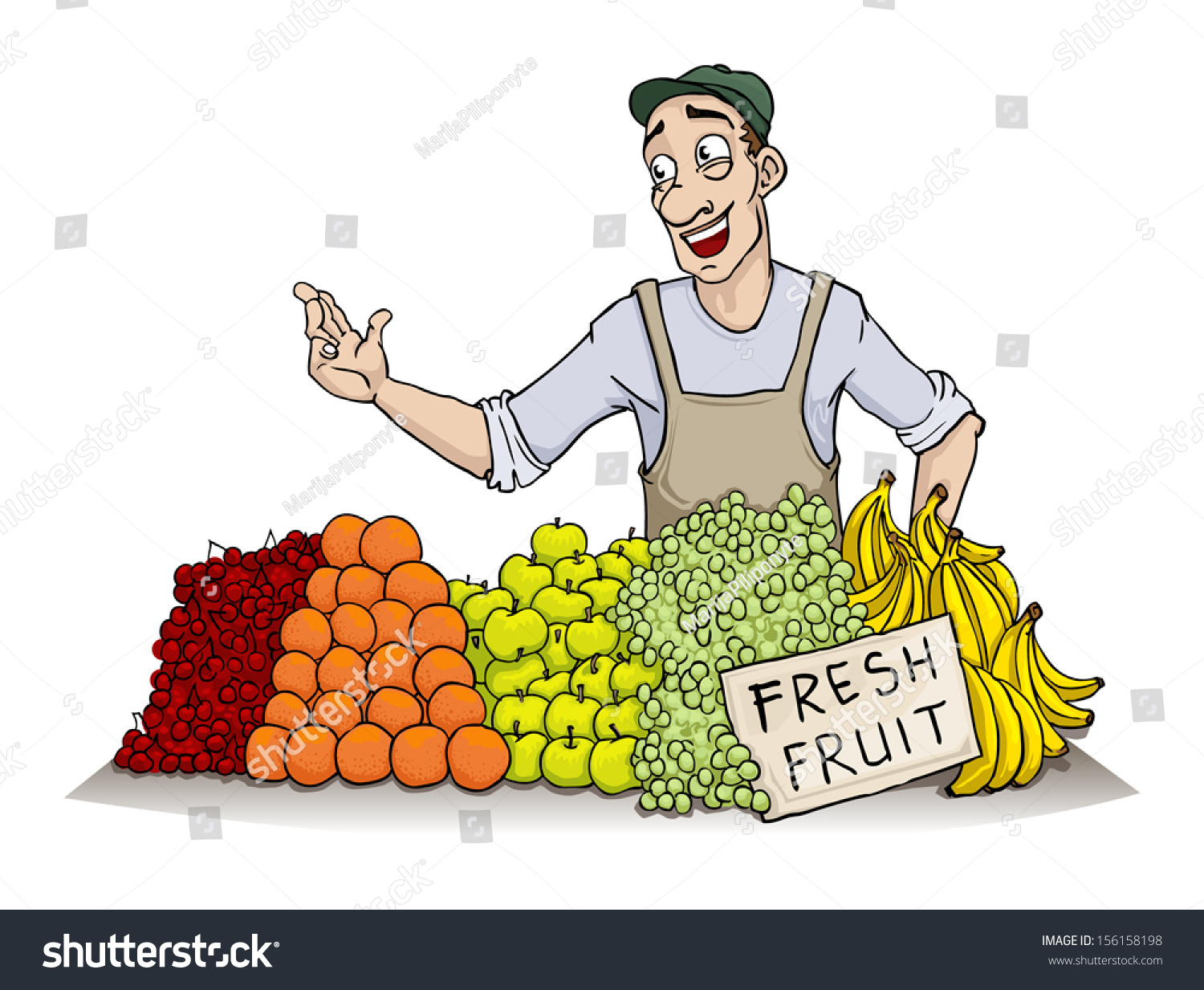 man selling various fruit vector illustration stock vector