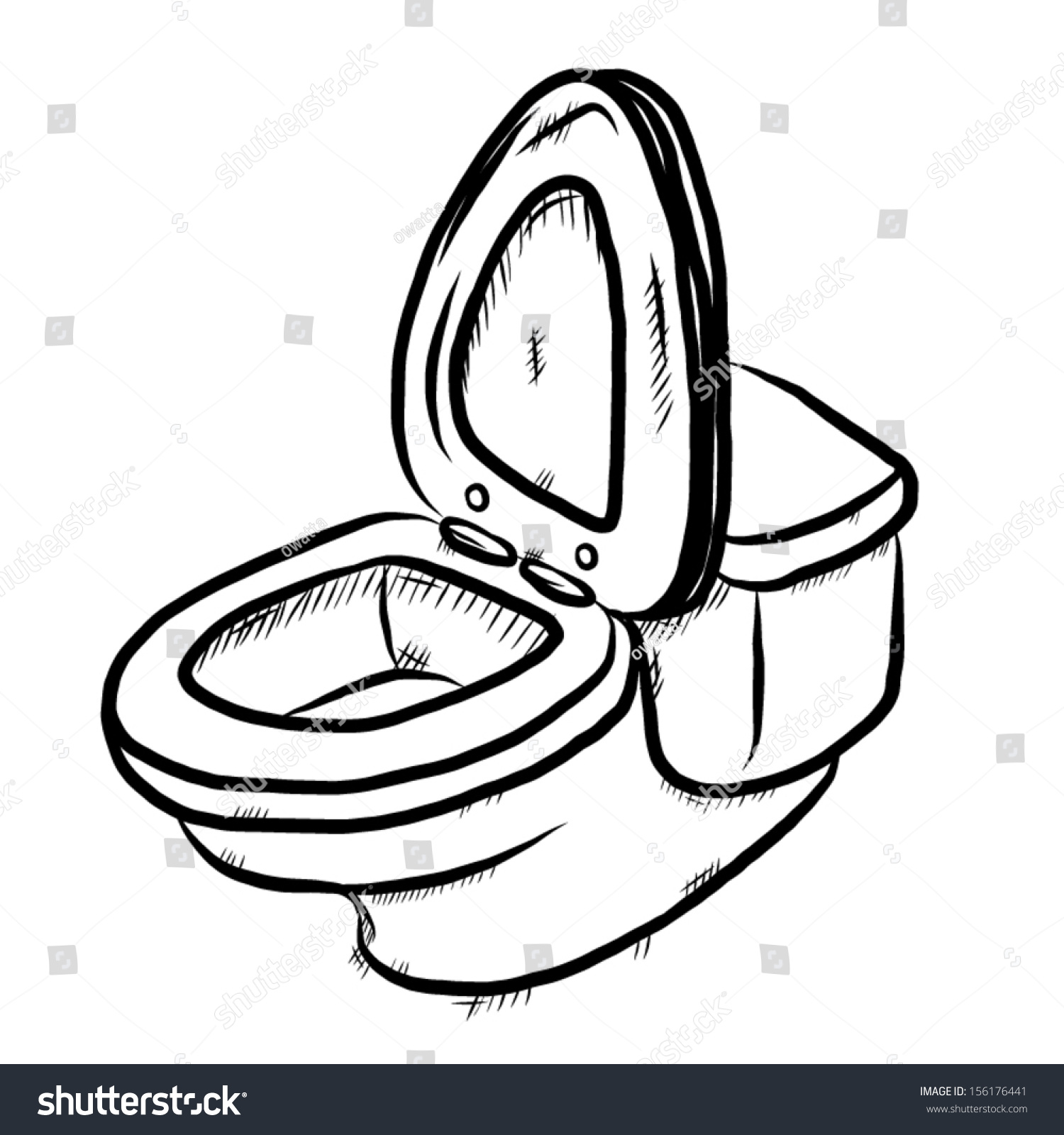 Flush Toilet Cartoon Vector Illustration Hand Stock Vector