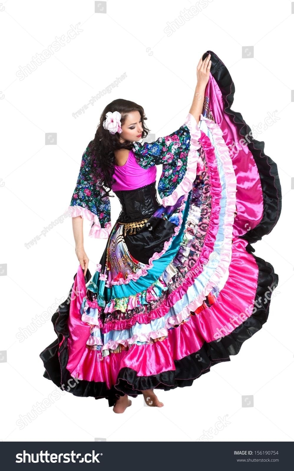 Young Beautiful Woman Dancing Gypsy Dance Stock Photo ...