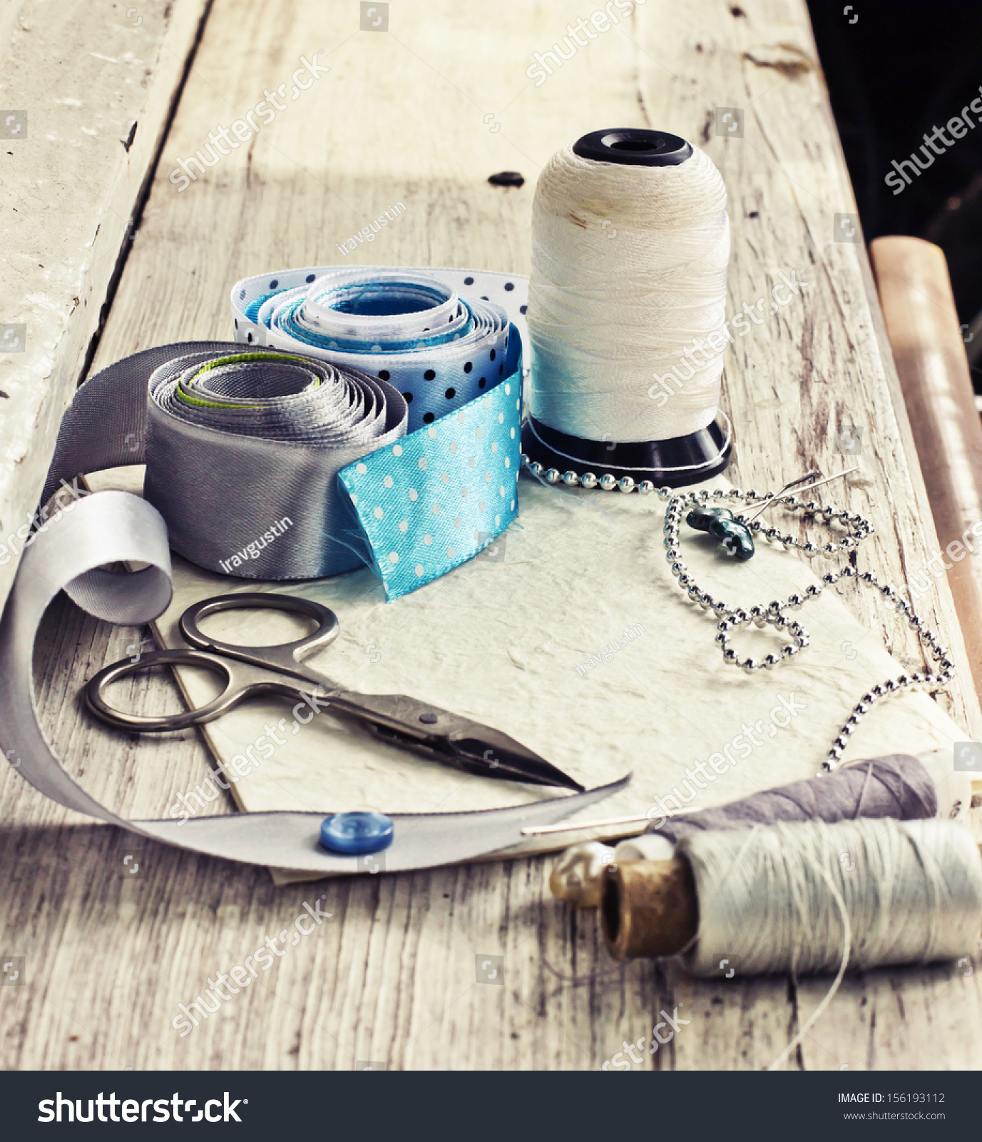 Scrapbooking craft materials background sewing tools stock for Sewing materials