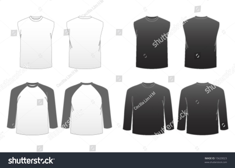 Mens Tshirt Templates Series 3 Long Sleeve Stock Vector HD (Royalty ...