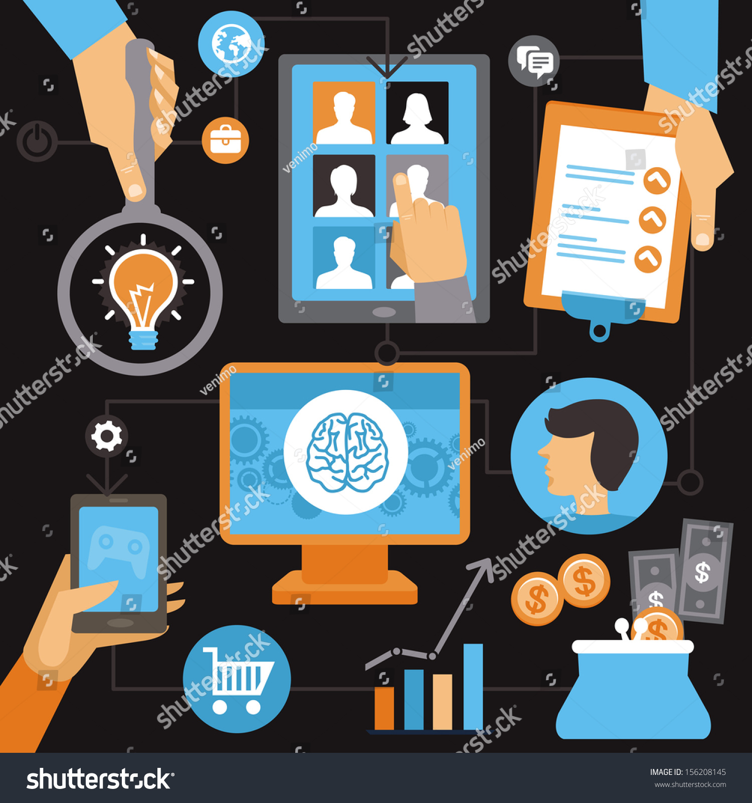 vector lance work progress job inquiry stock vector 156208145 vector lance work progress job inquiry payment and development icons