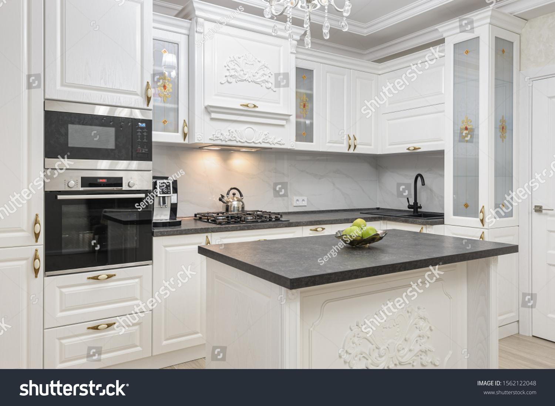 White Spacious Luxury Modern Kitchen Island Stock Photo Edit Now