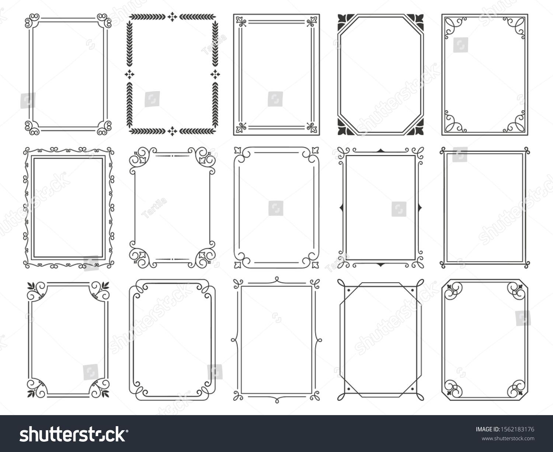 Vintage calligraphic frames. Ornate calligraph frame, retro elegant ornamental borders and filigree floral ornaments for framed certificate template. Isolated vector illustration signs set #1562183176