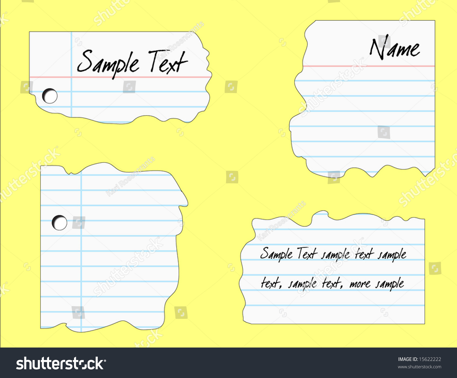 Notebook Paper Ripped Into Pieces Vector Illustration