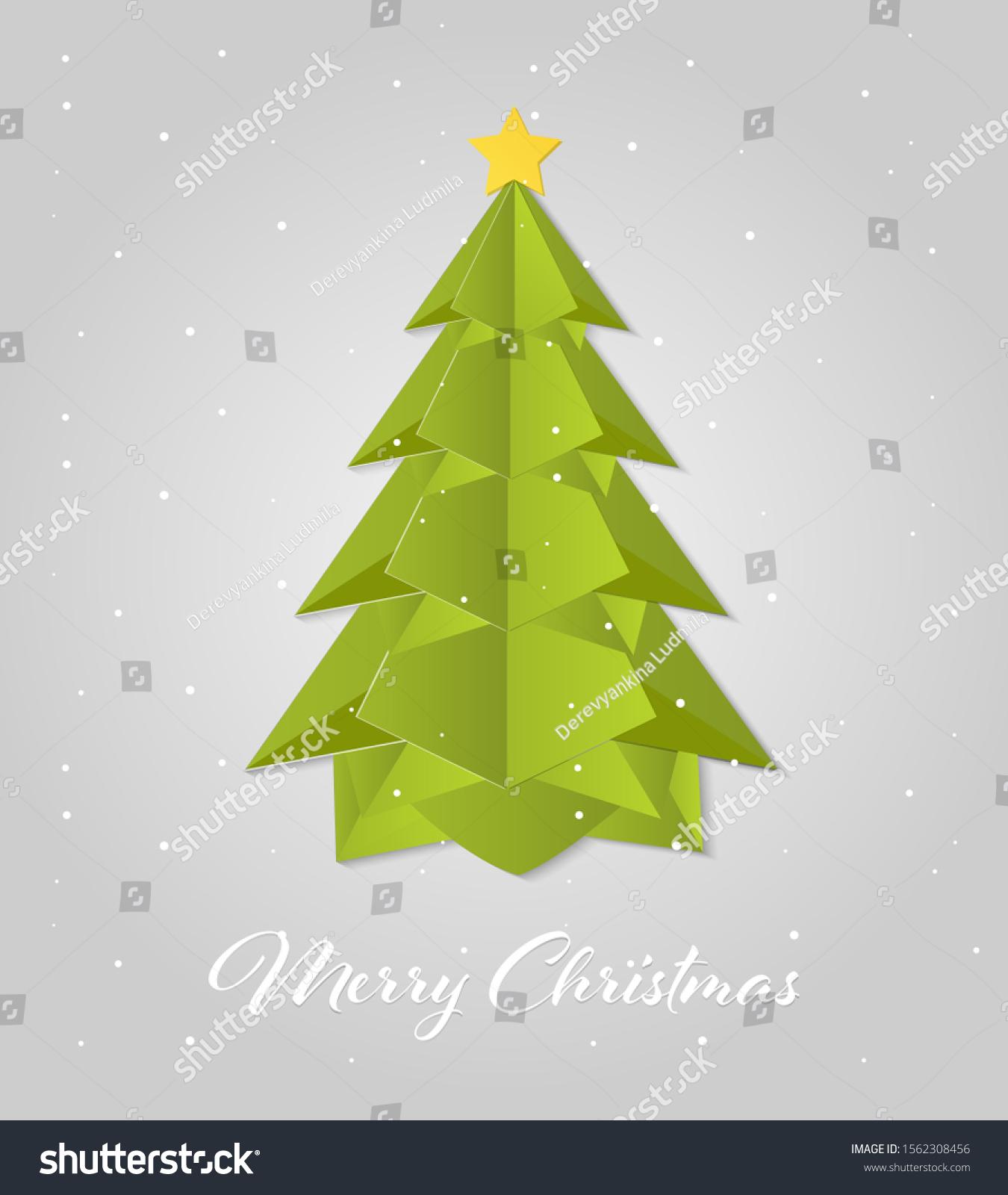 Paper Art Christmas Tree Merry Christmas Stock Vector Royalty Free 1562308456