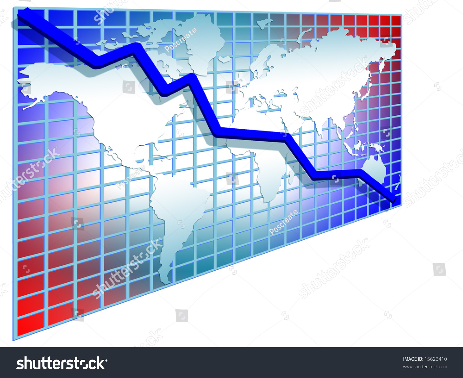 3 d line chart blue stock illustration 15623410 - shutterstock