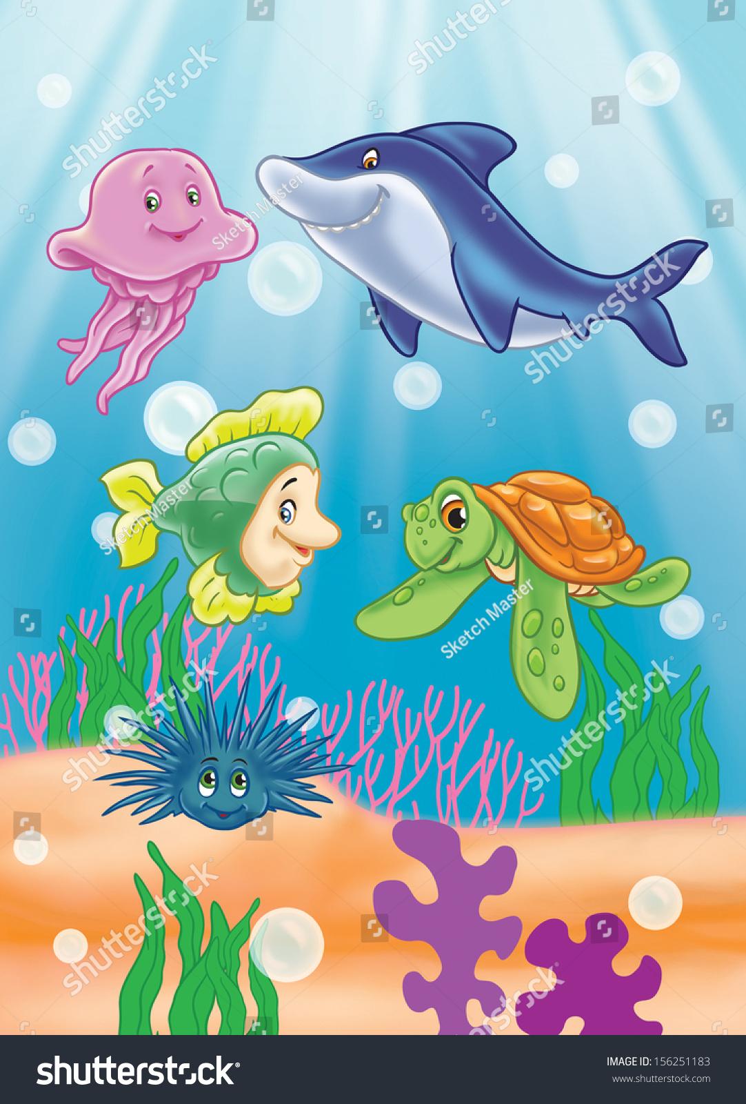 scene under sea sea animals fish stock illustration 156251183