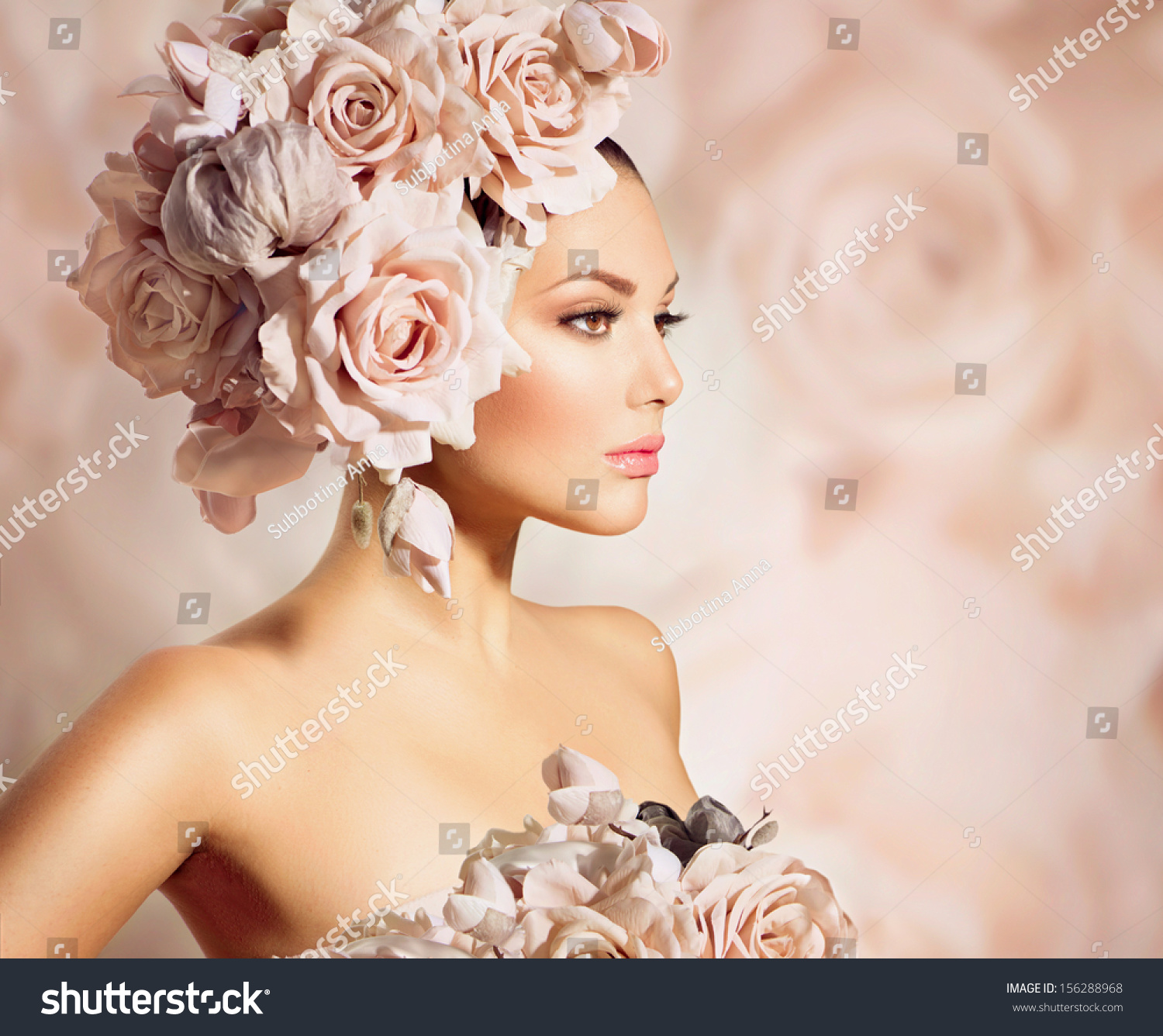 Fashion Beauty Model Girl Flowers Her Stock Photo
