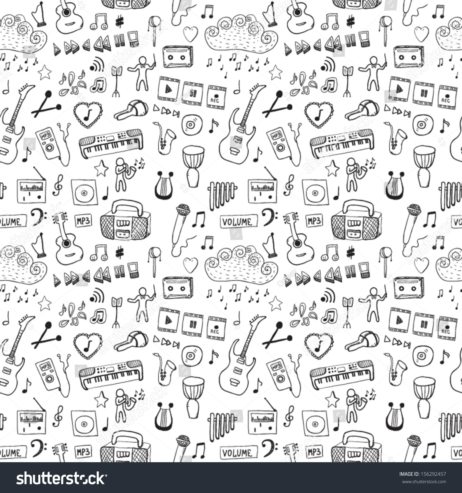 Music symbols seamless pattern stock vector 156292457 shutterstock music symbols seamless pattern buycottarizona Gallery