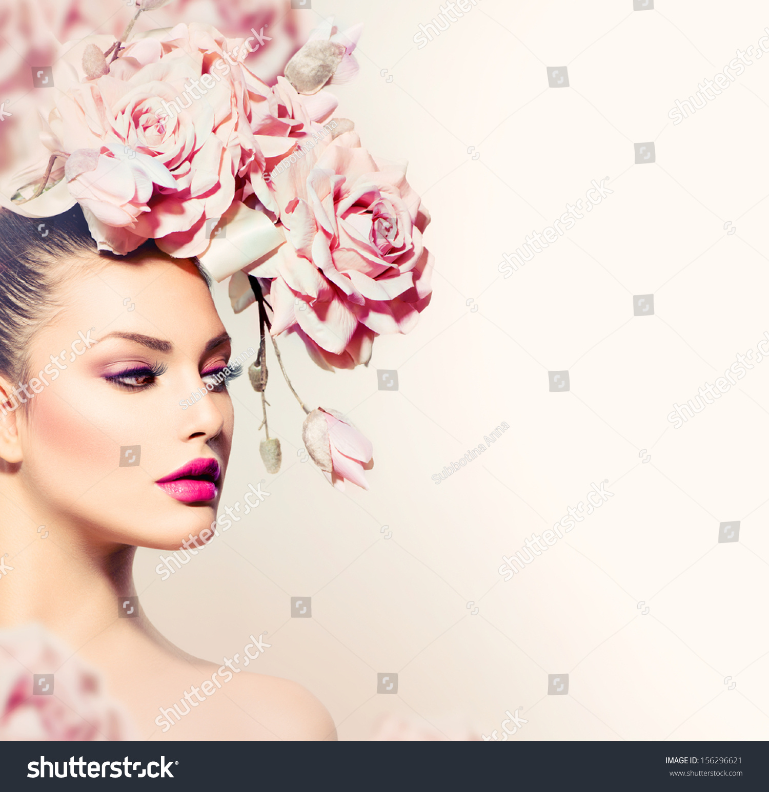 Fashion Beauty Model Girl Flowers Hair Stock Photo
