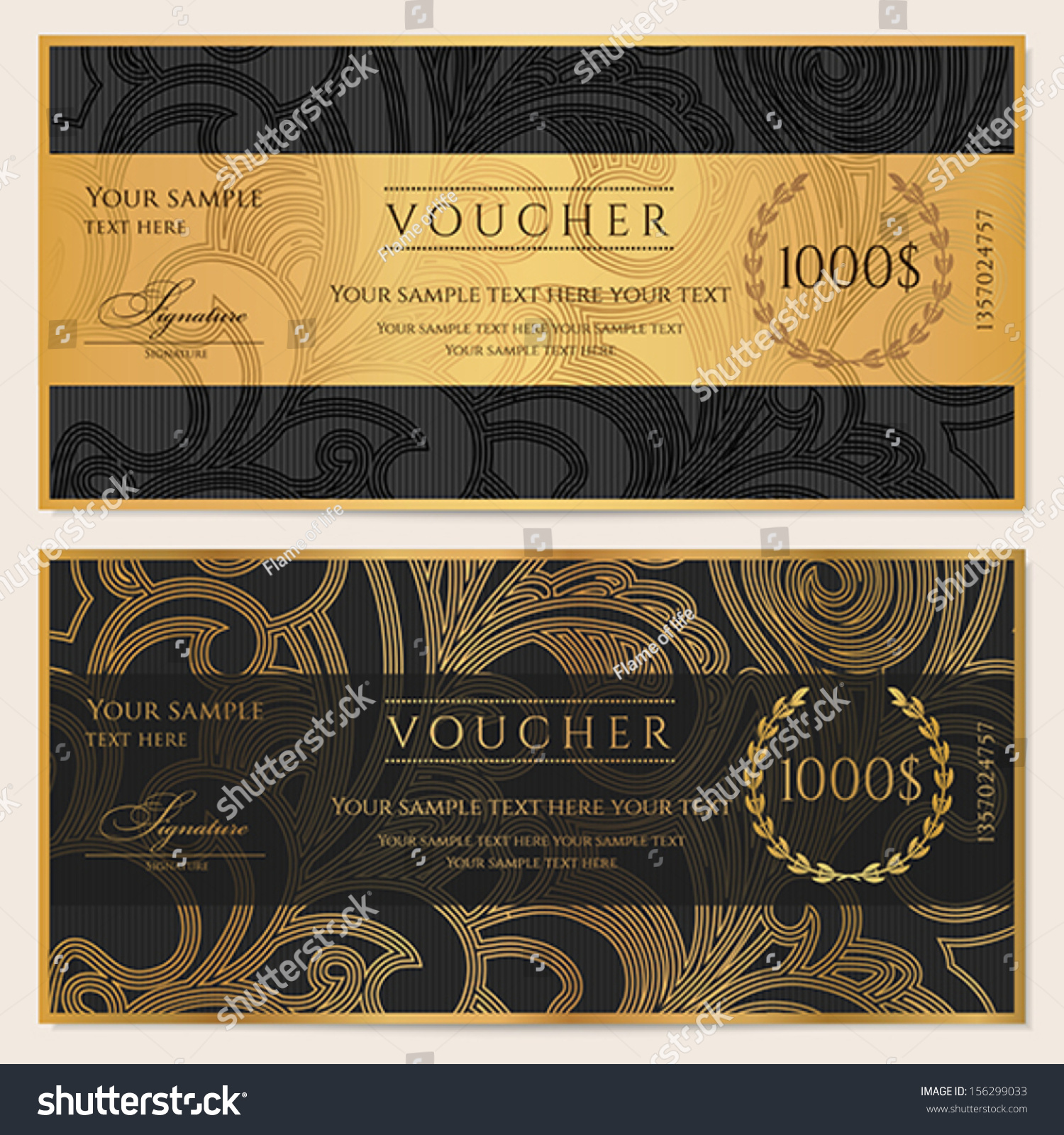 Voucher gift certificate coupon template floral stock for Cheque voucher template