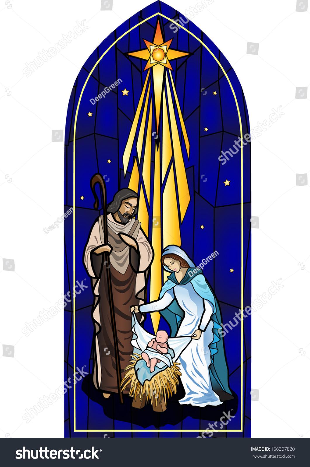 Vector Illustration Holy Family Nativity Birth Stock ...  Jesus Christ Birth Clipart