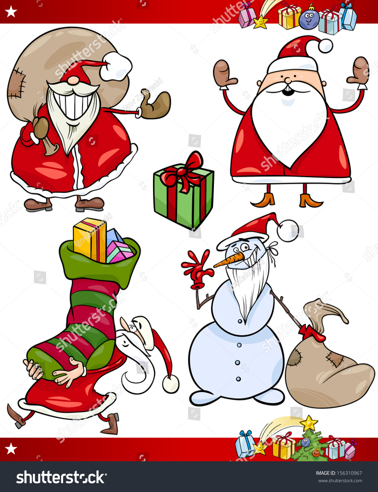 Cartoon vector illustration of santa claus or papa noel presents gifts and other christmas - Papa noel vector ...