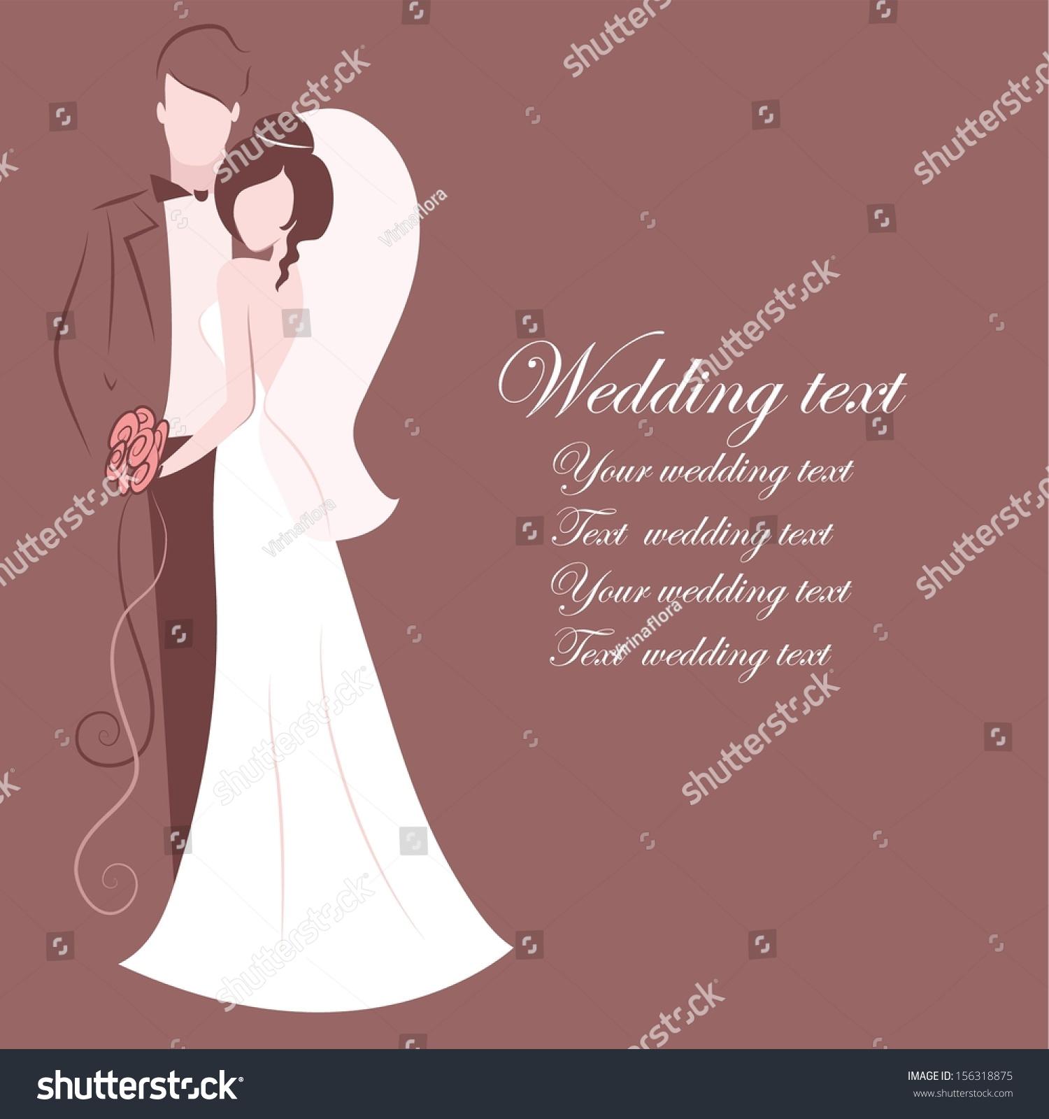 Silhouette Bride Groom Background Wedding Invitation Stock Vector ...