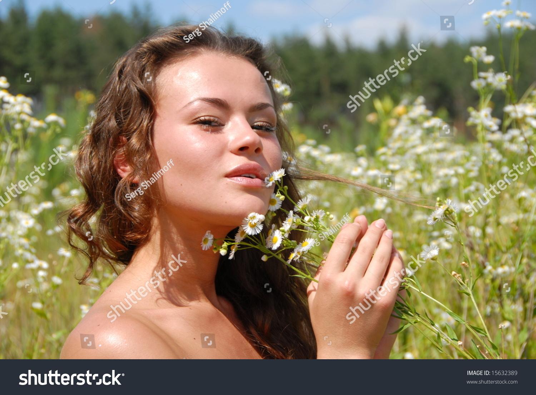 Portrait Beautiful Girl Flowers Stock Photo Edit Now 15632389
