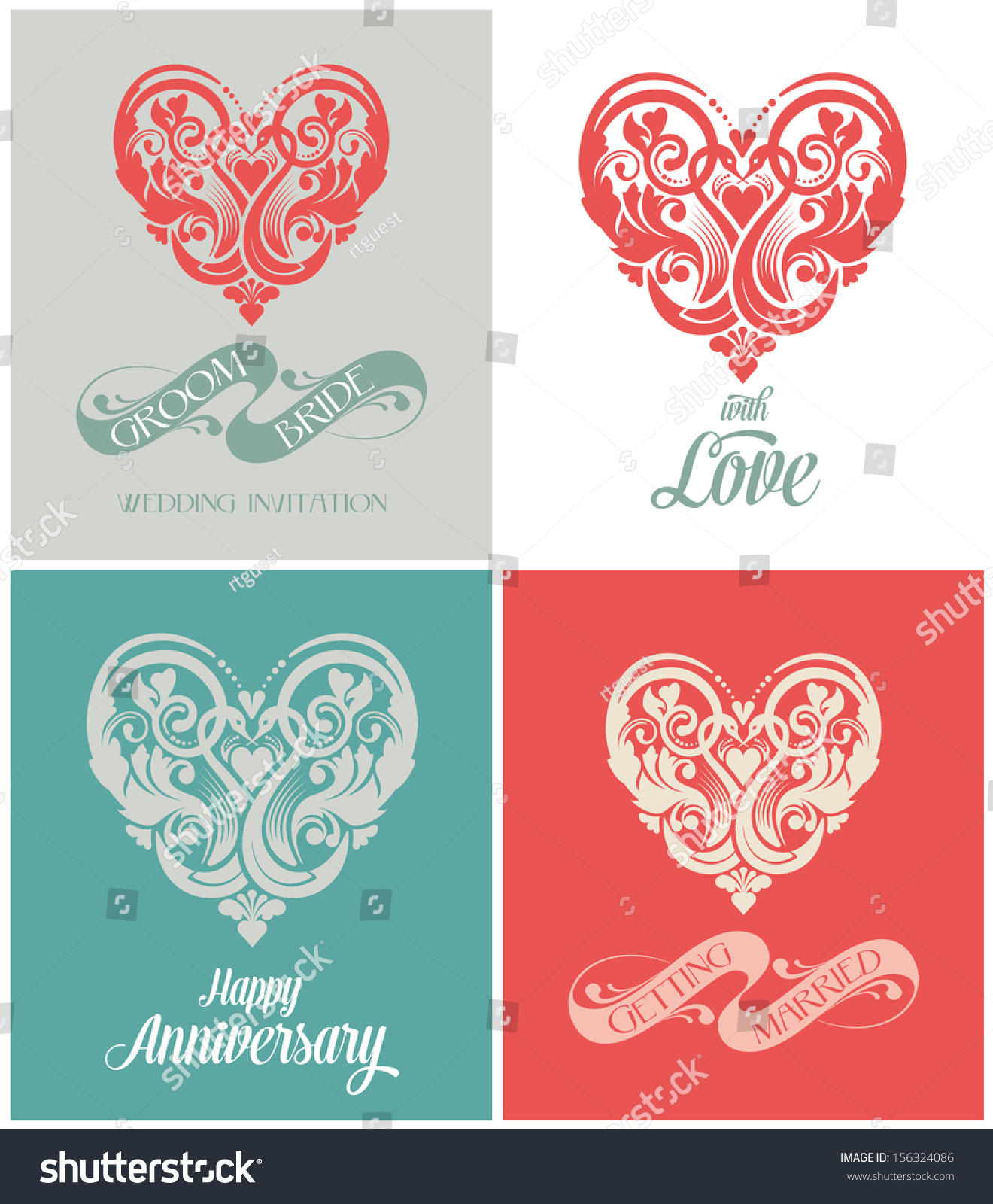 Wedding Invitation Card Getting Married Calligraphy Stock Vector ...