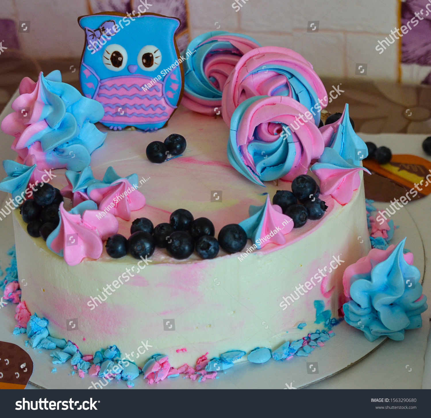 Super Birthday Cake Blue Pink Owl Figure Royalty Free Stock Image Funny Birthday Cards Online Elaedamsfinfo