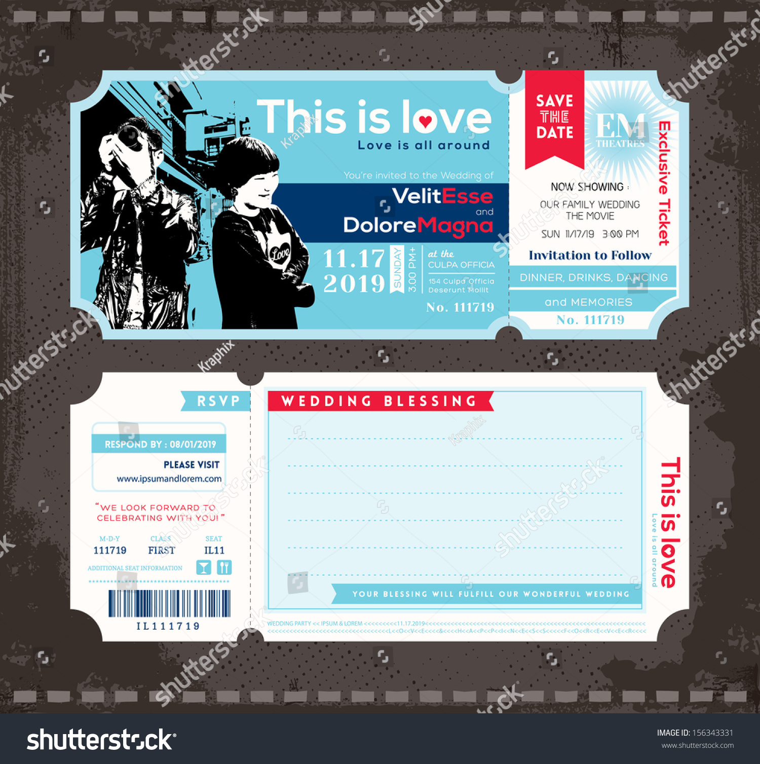 Vector Ticket Wedding Invitation Design Template Vector – Ticket Design Template