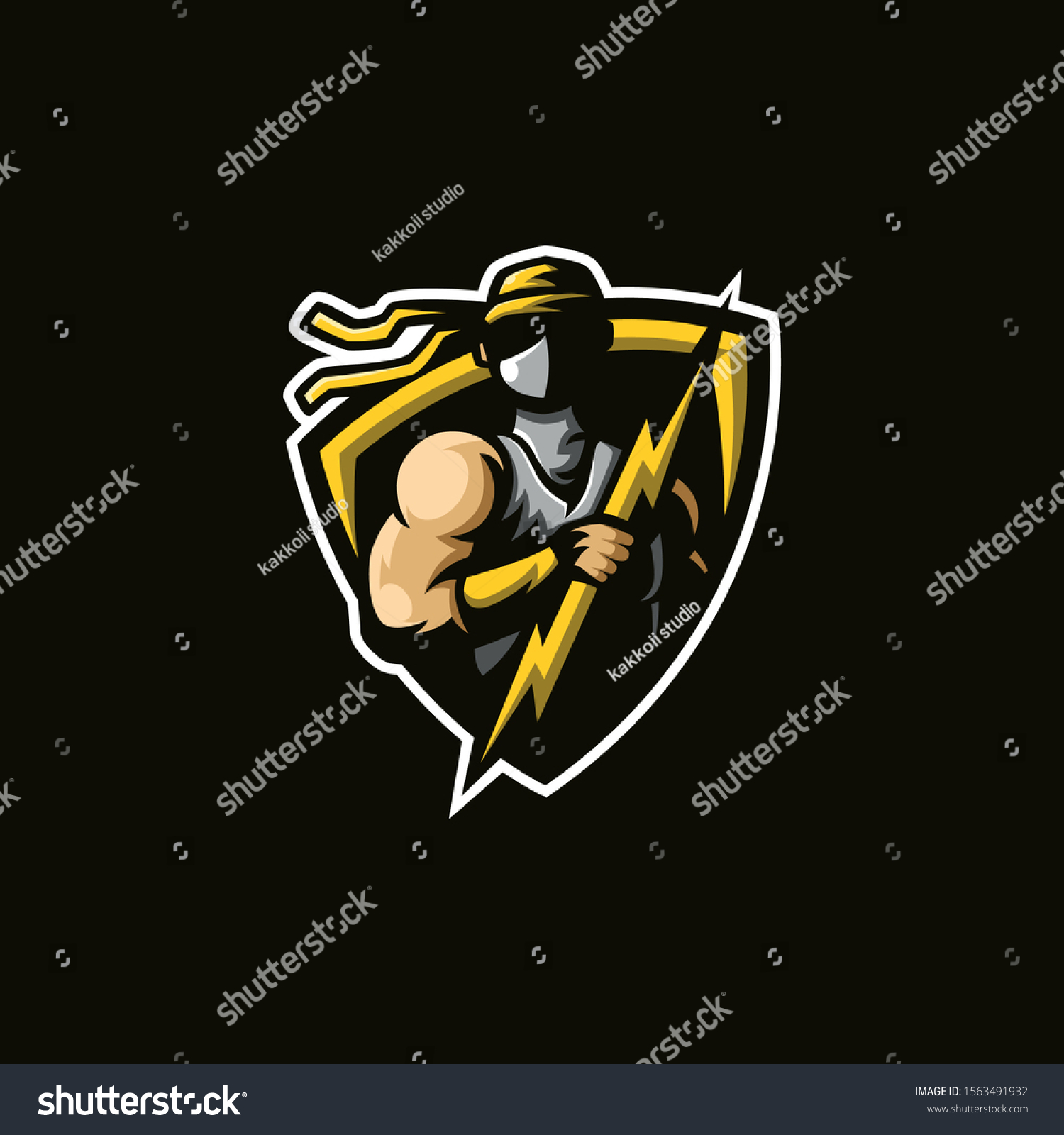 mascot logo god thunder vector illustration stock vector royalty free 1563491932 shutterstock