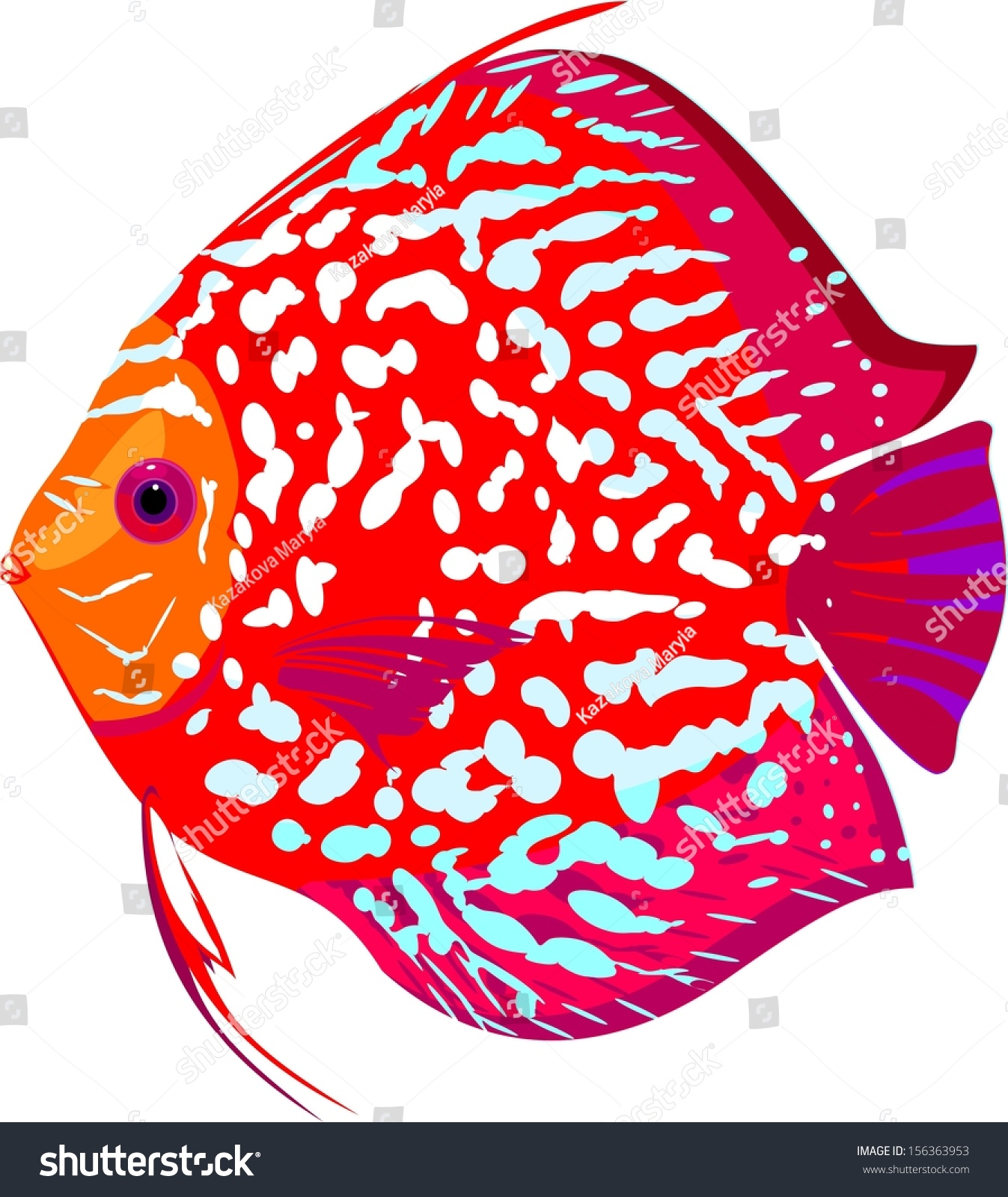Red Leopard Discus Fish Stock Illustration 156363953 - Shutterstock