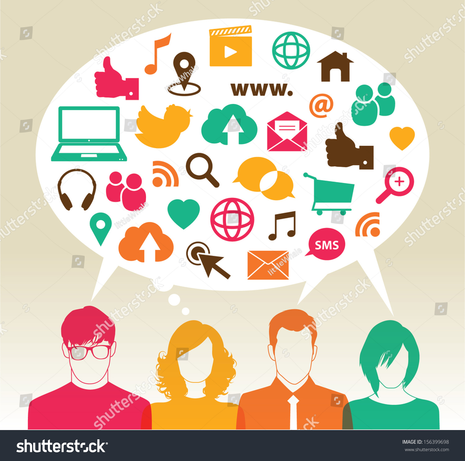 Social Media Icons Speech Bubbles Group Stock Vector ...