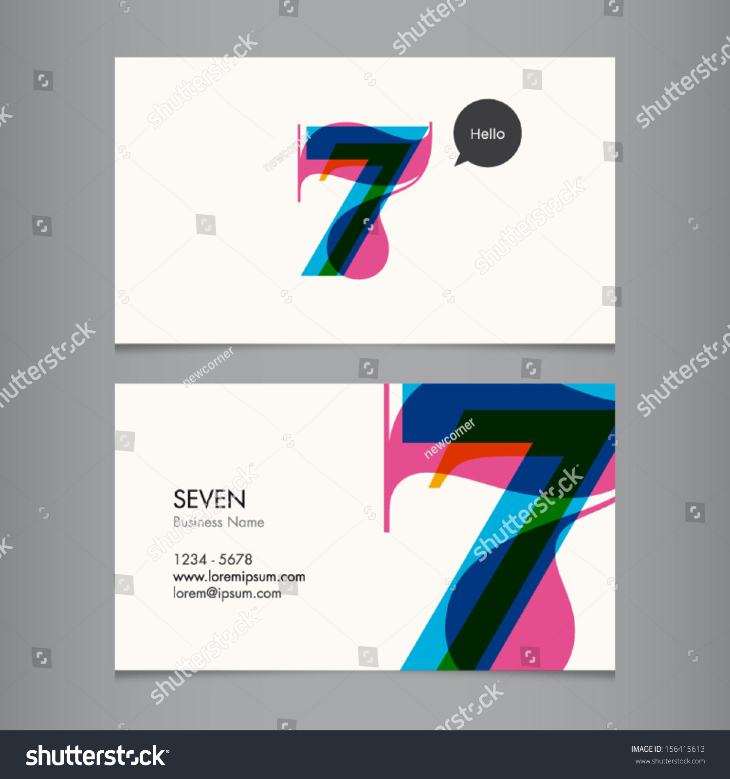 business card template number seven stock vector