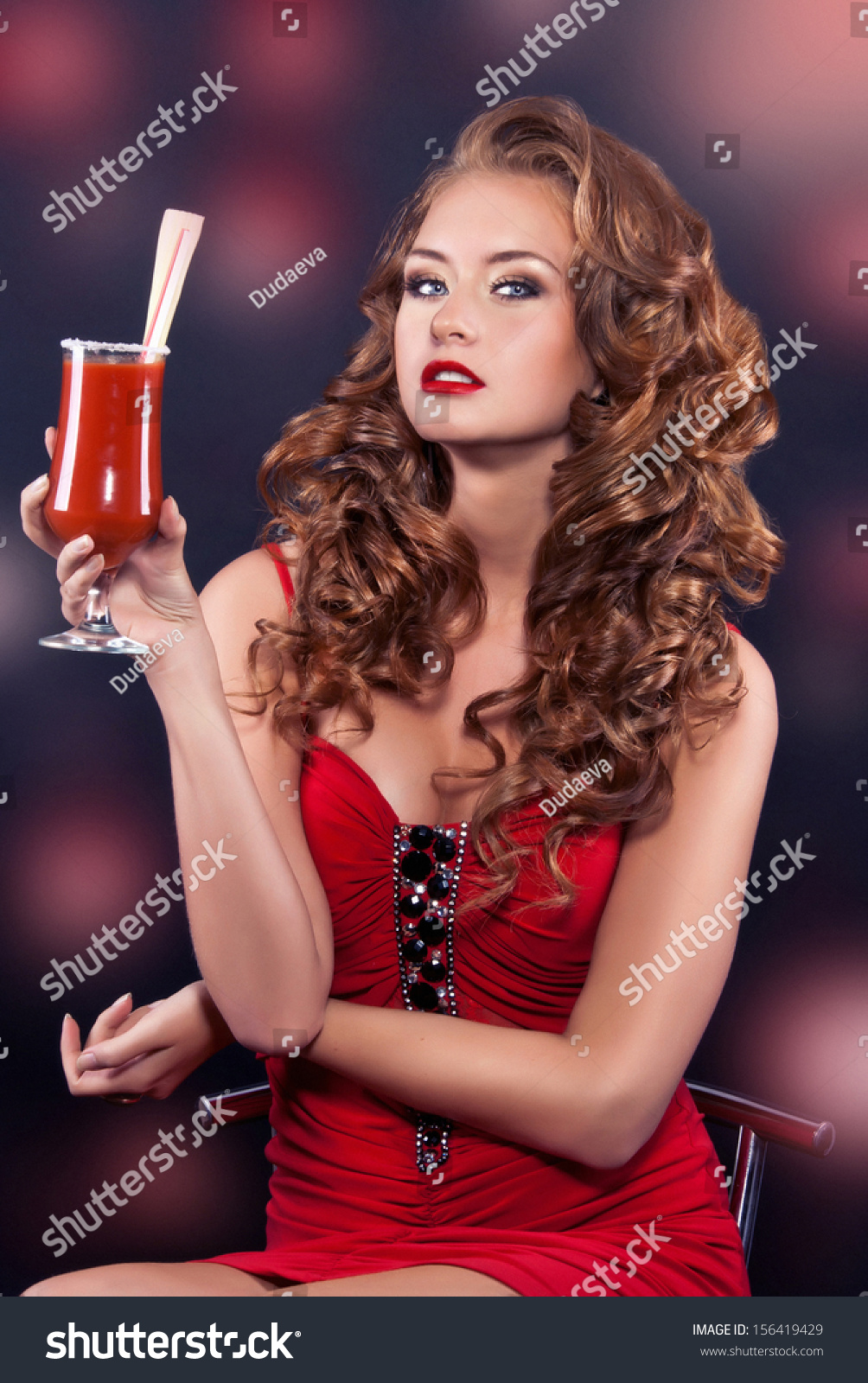 Beautiful Redhaired Girl Red Cocktail Dress Stock Photo 156419429 ...