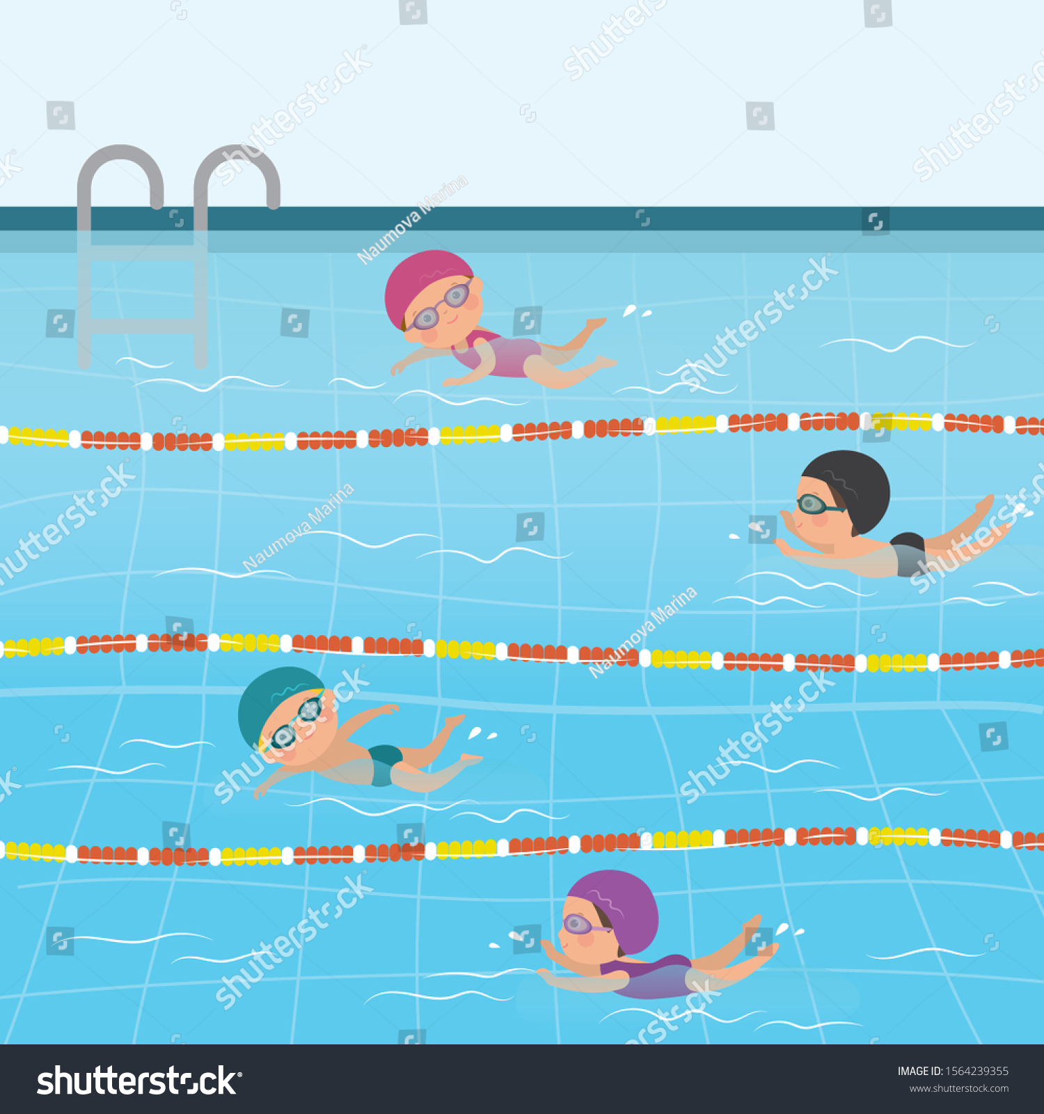 Cartoon Children Swimsuits Various Caucasian Kids Stock Vector Royalty Free 1564239355