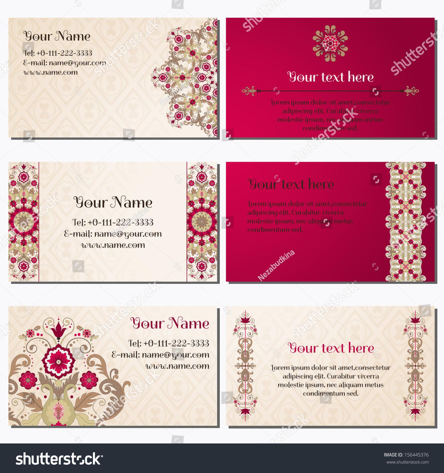 Set Six Horizontal Business Cards Beautiful Stock Vector (Royalty ...
