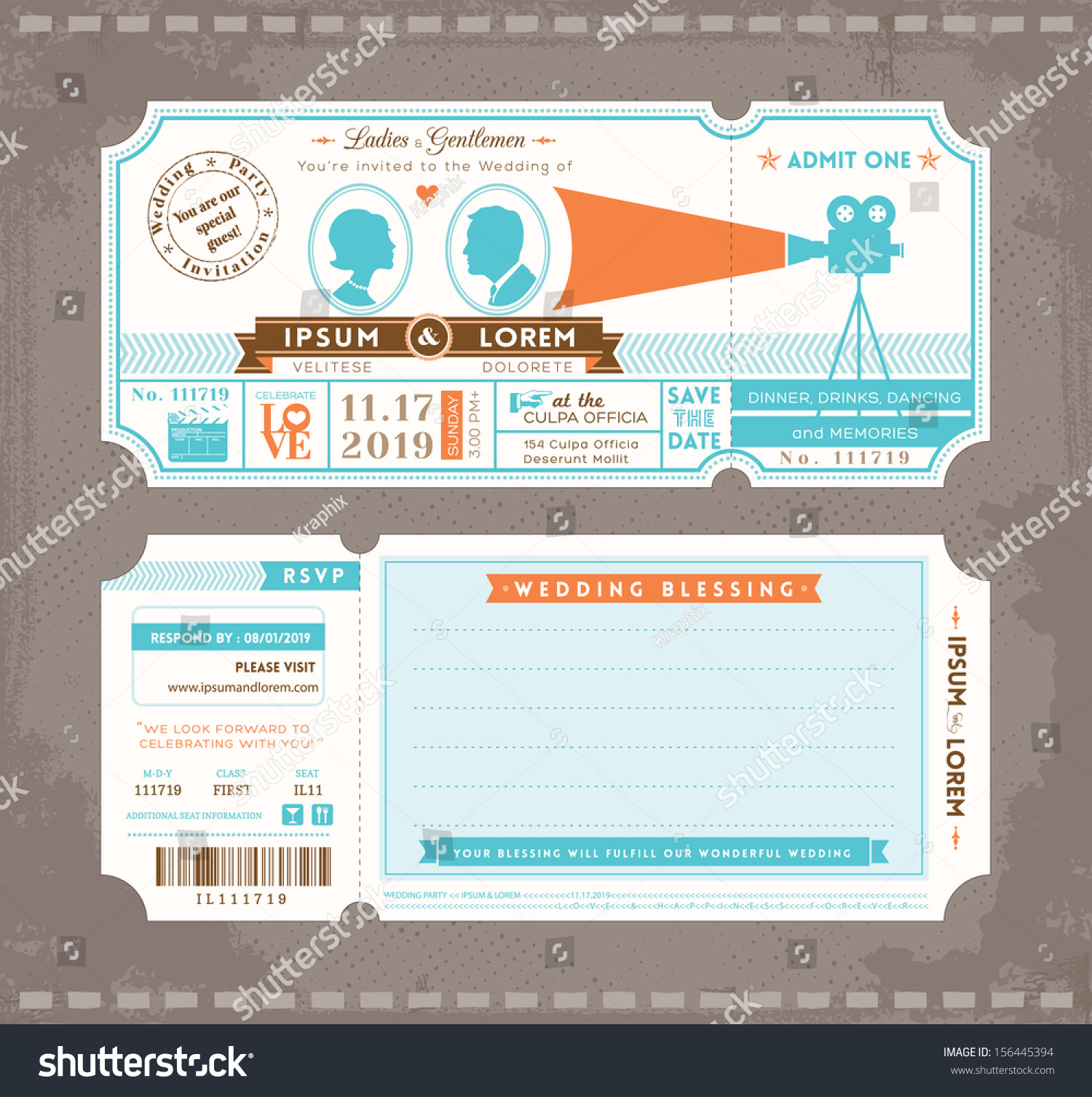 Vector Movie Ticket Wedding Invitation Design Template  Dinner Tickets Template
