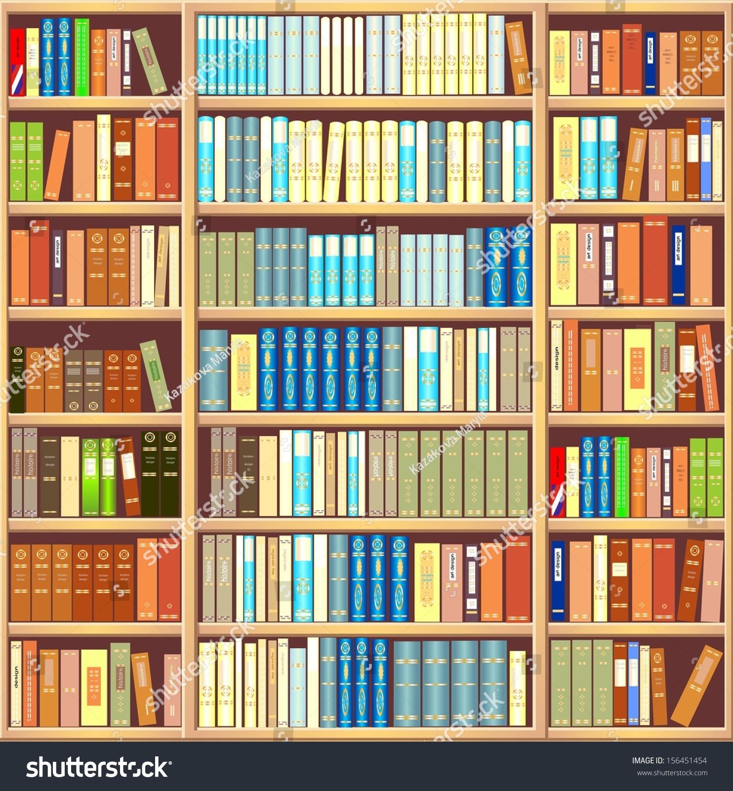 Книжный шкаф, полный книг.