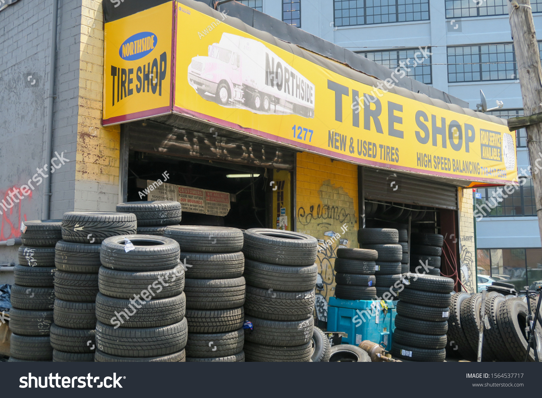 stock-photo-new-york-usa-july-tire-shop-