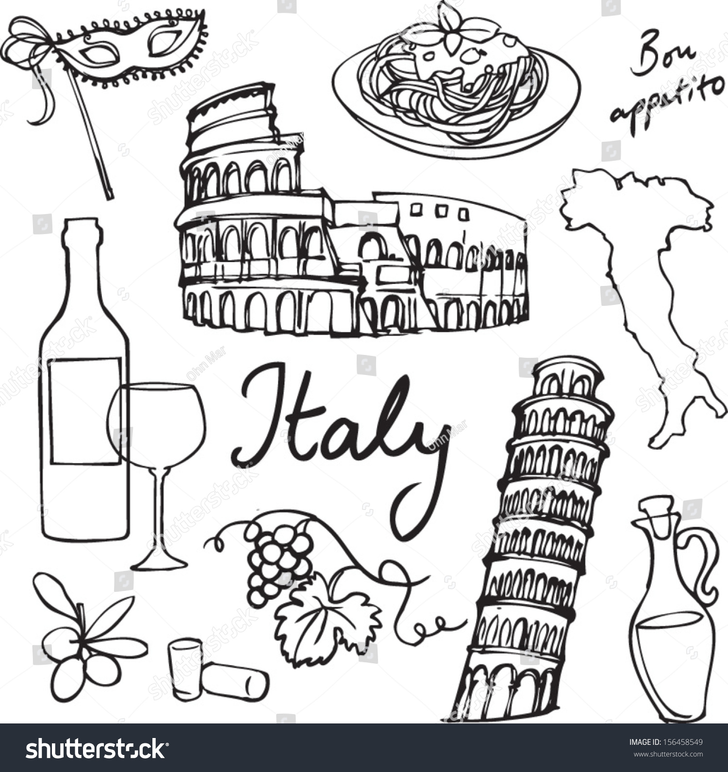Italian Restaurant Logo With Flag: Set Italy Icons Doodle Vector Illustration Stock Vector