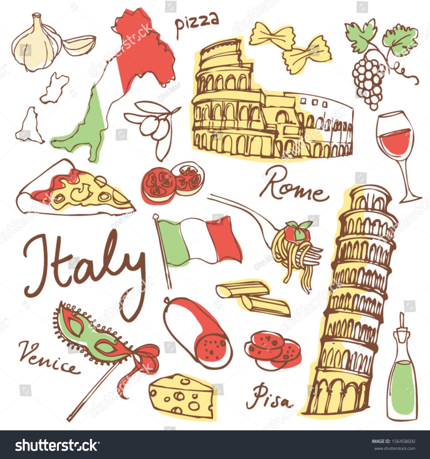 Italian Restaurant Logo With Flag: Set Italy Icons Vector Illustration Stock Vector 156458600