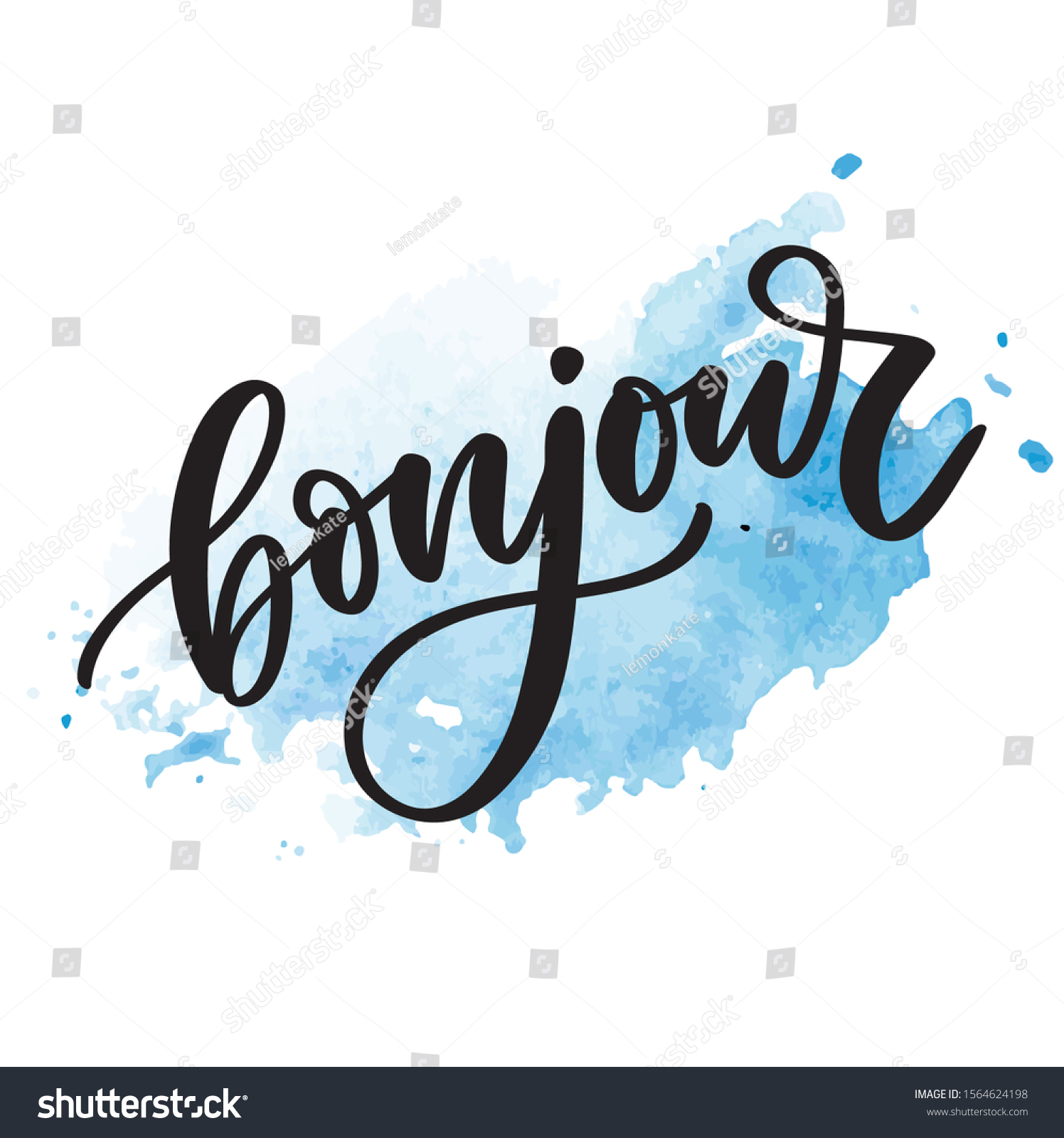 Bonjour Inscription Good Day French Greeting Stock Vector Royalty Free 1564624198