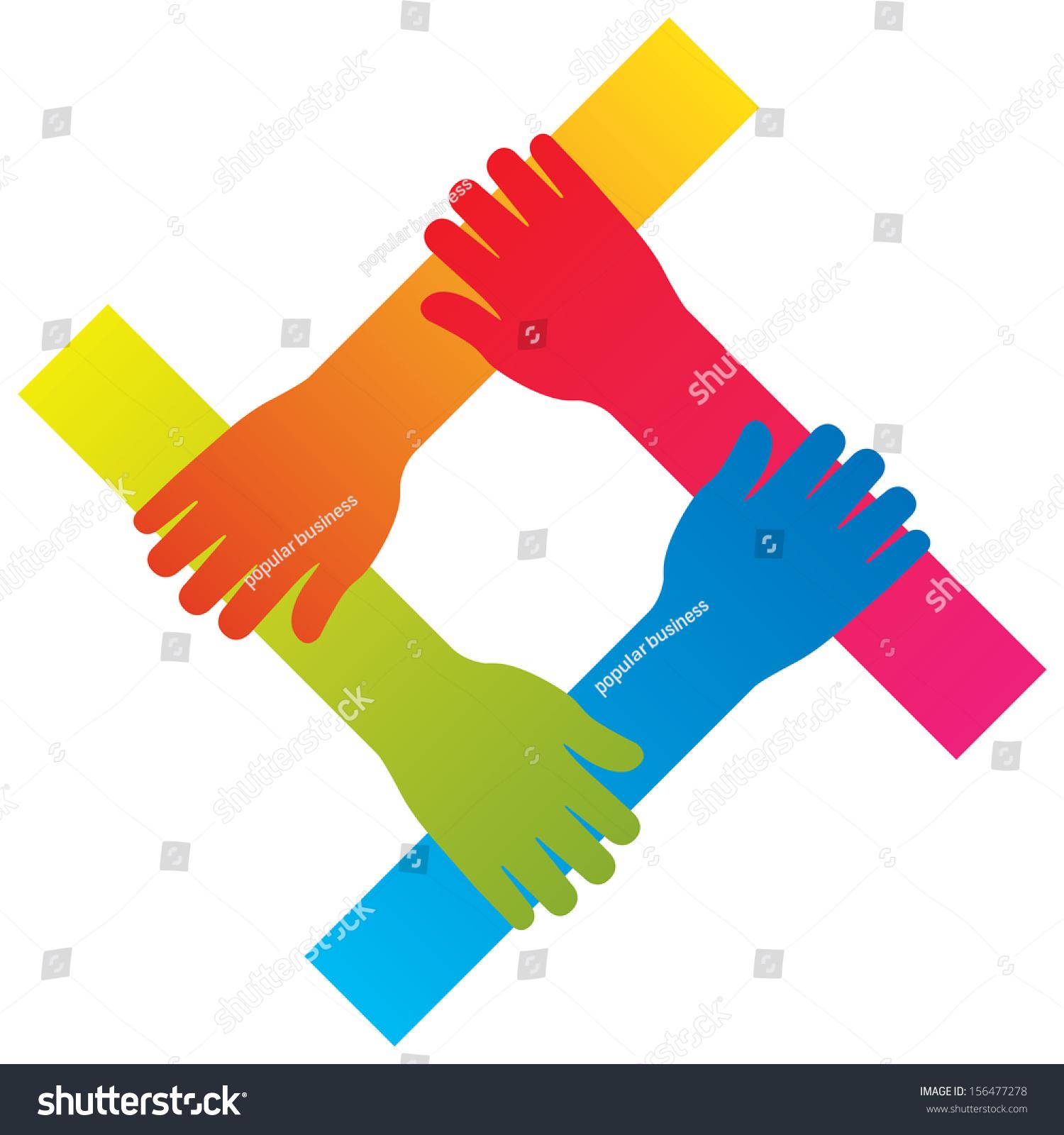 Popular Hand Connecting Teamwork Icon Concept Stock Vector