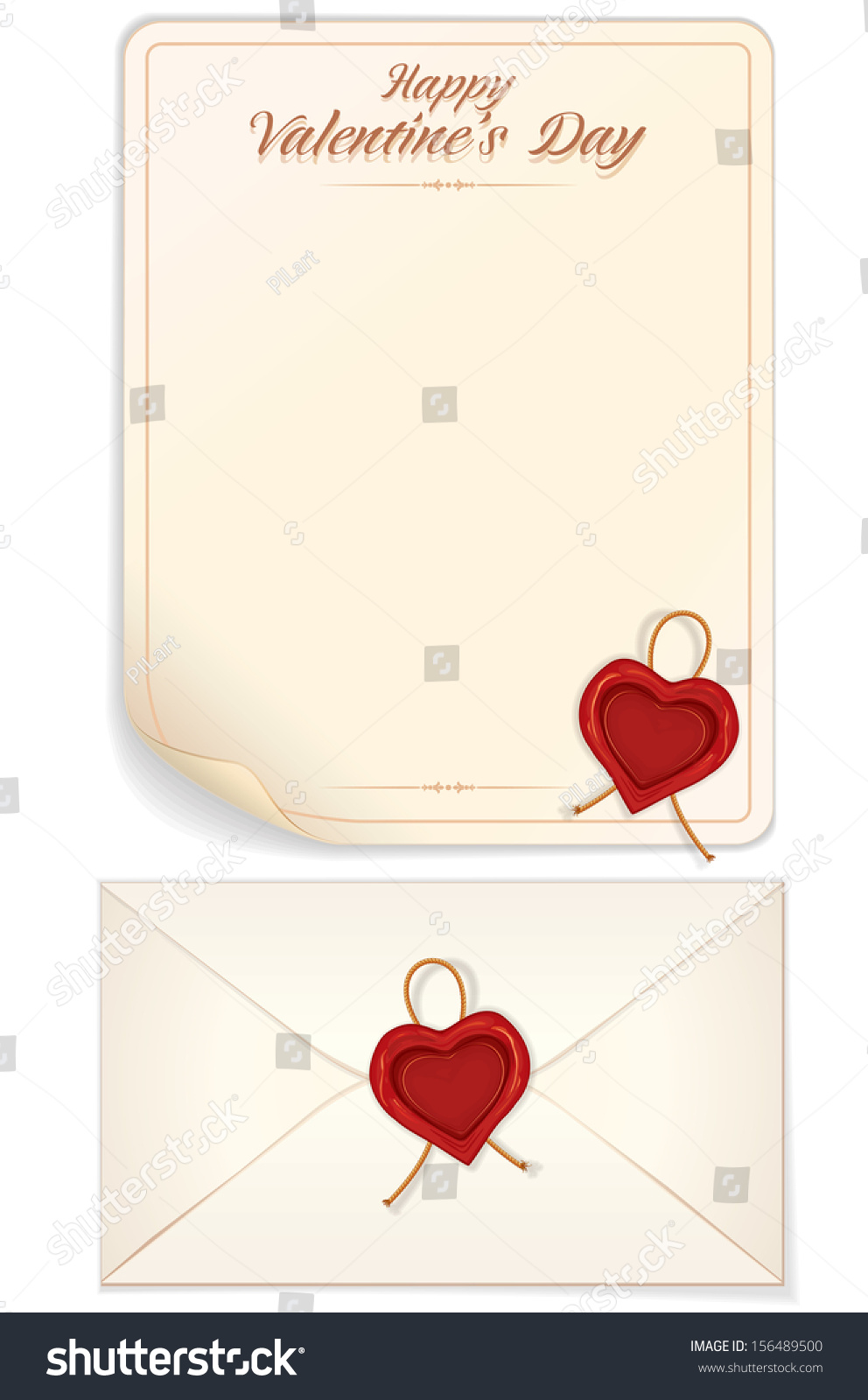 Valentines Day Love Letter Template Heart Stock Vector 156489500 ...