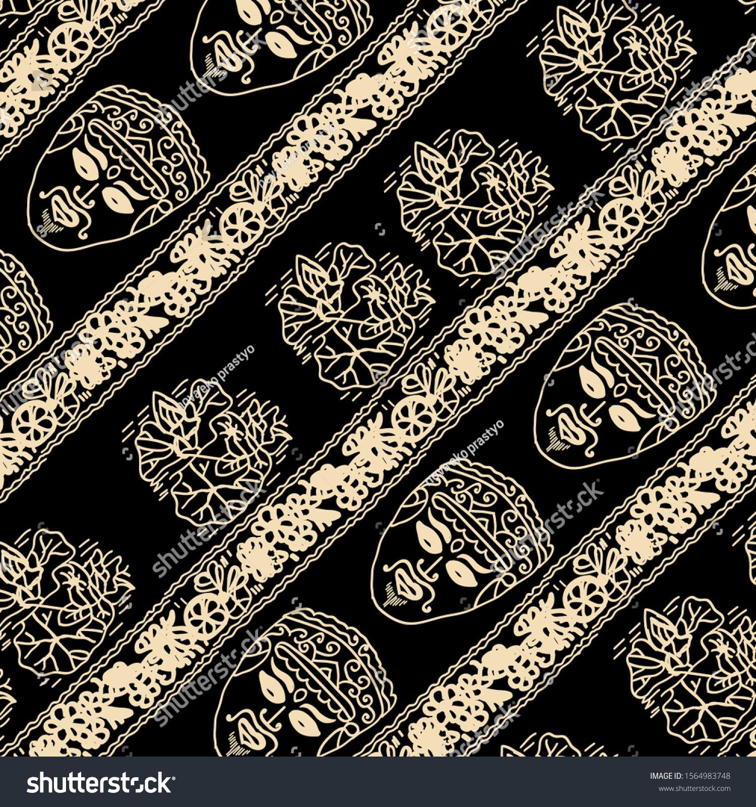 Batik Motif Black Background Mask Malang Stock Vector Royalty Free 1564983748