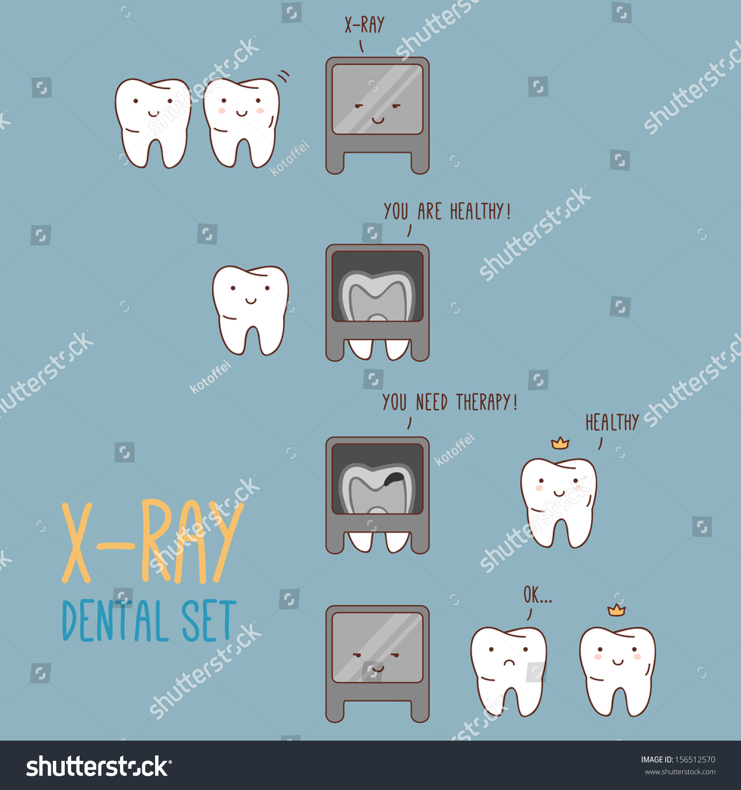 comics about dental xray vector illustration stock vector