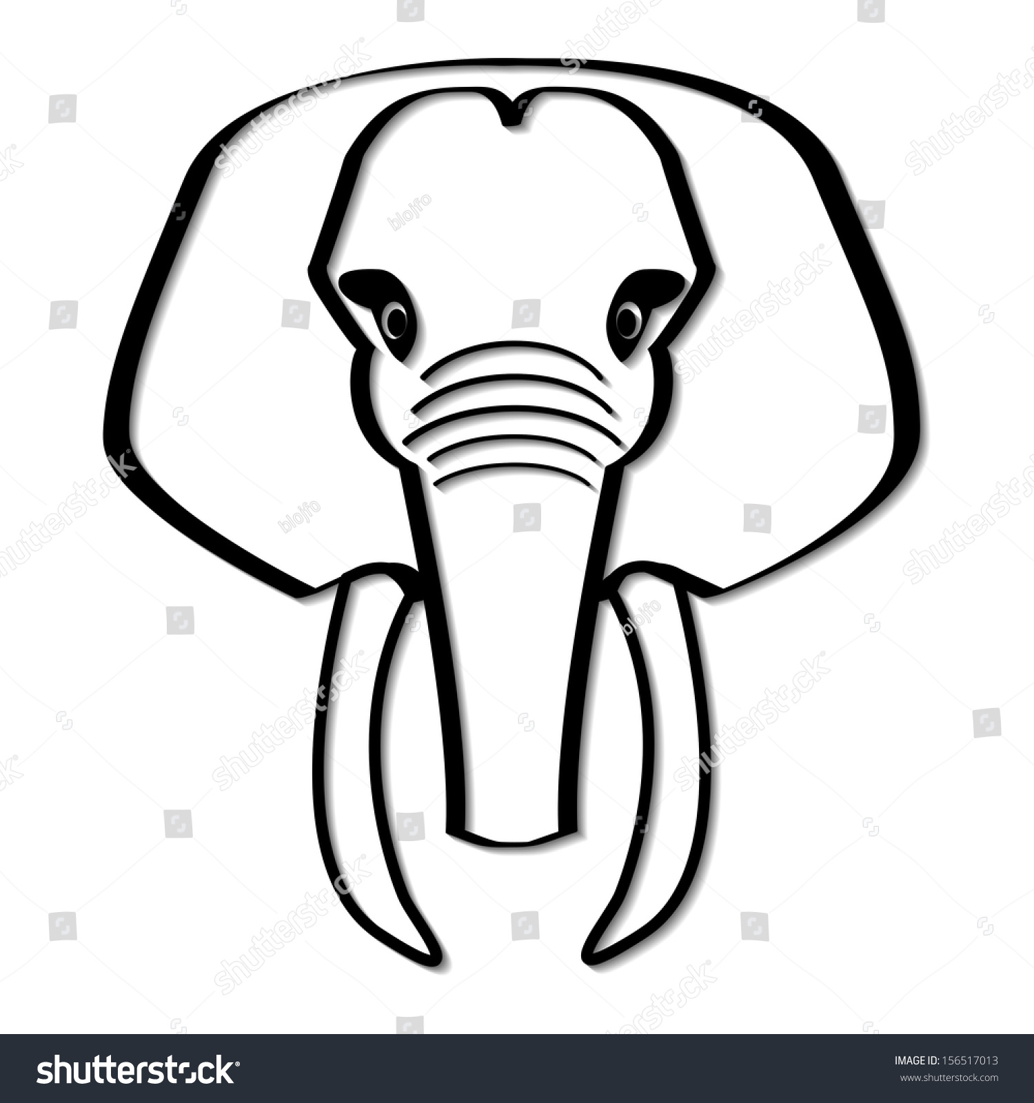 elephant head black white simplified vector stock vector 156517013