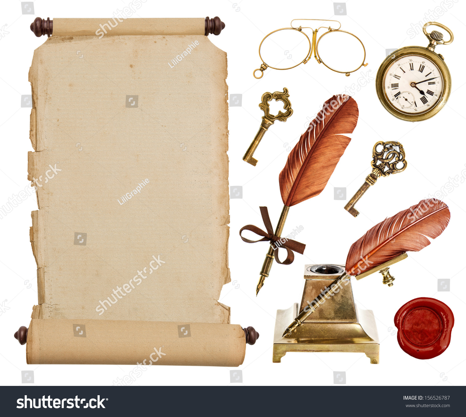 Antique Scroll Paper: Old Vintage Paper Scroll And Antique Accessories Isolated