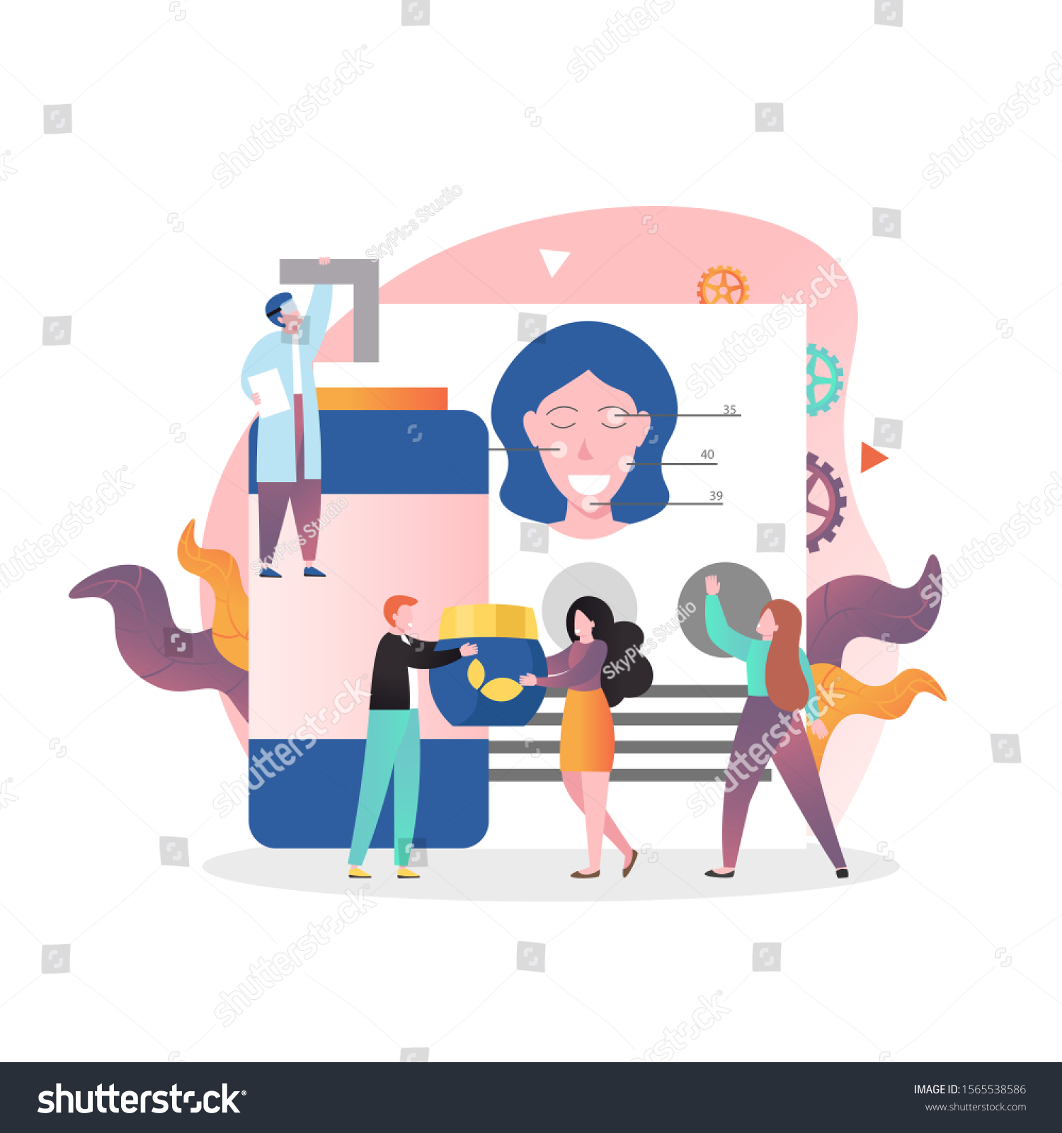 Micro Male Female Characters Beauty Specialists Stock Vector Royalty Free 1565538586