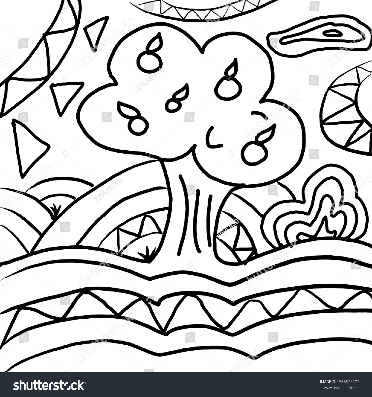 Antistres Apple Tree Coloring Page Stock Illustration 1565543107