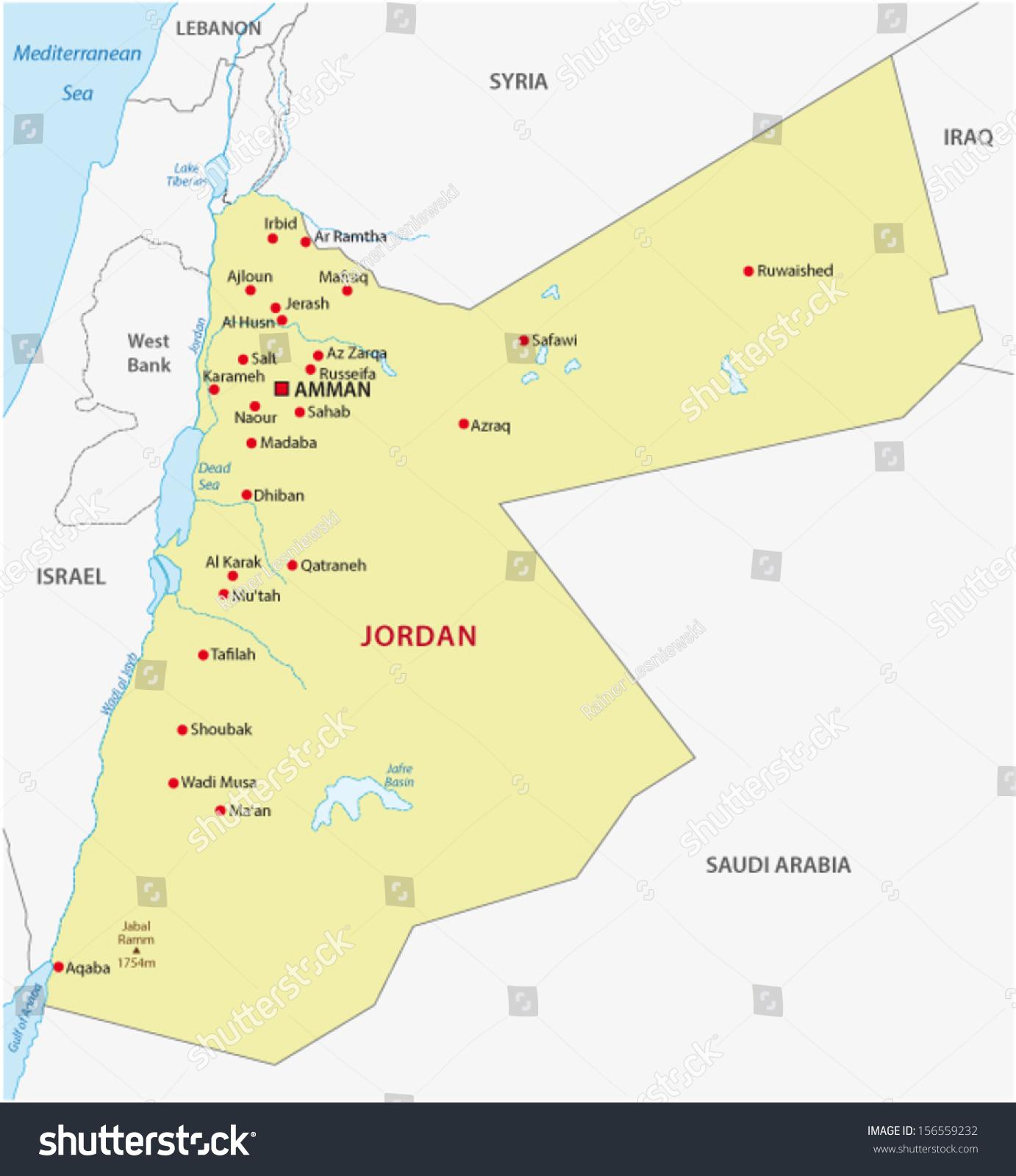 Jordan Map Stock Vector Shutterstock - Jordan map