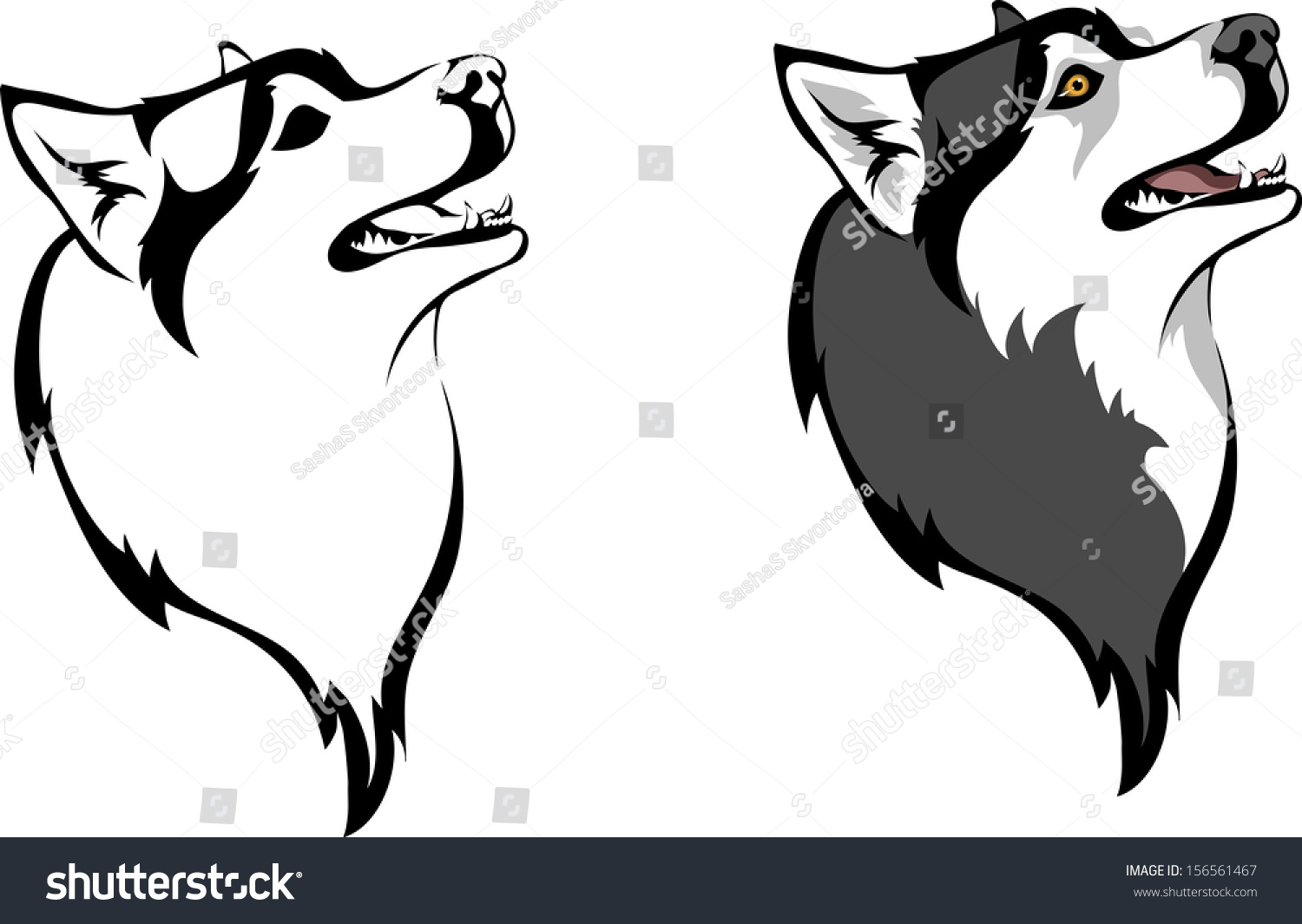 head dog breed siberian husky stock vector 156561467 shutterstock